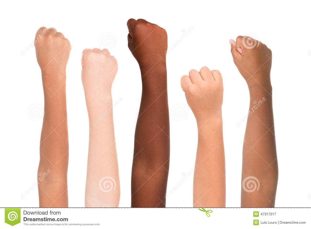 hands from different colors and races together isolated in white