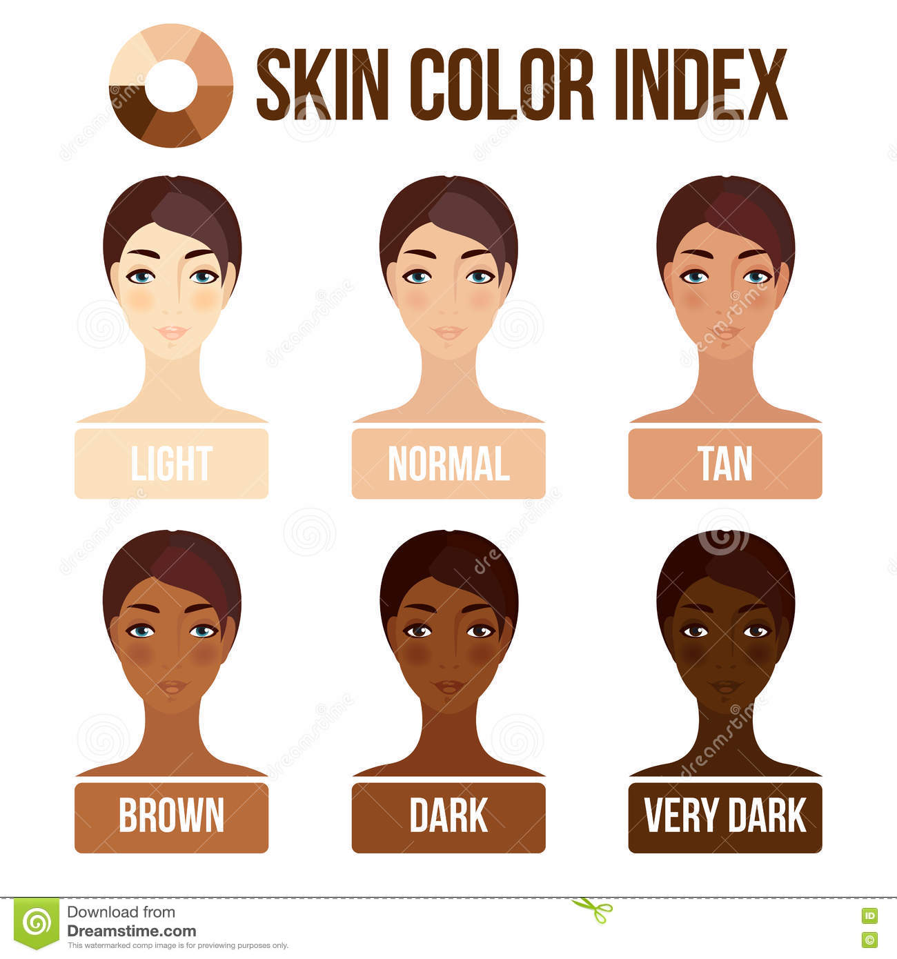 Skin Color Index Stock Vector Illustration Of Girl Color