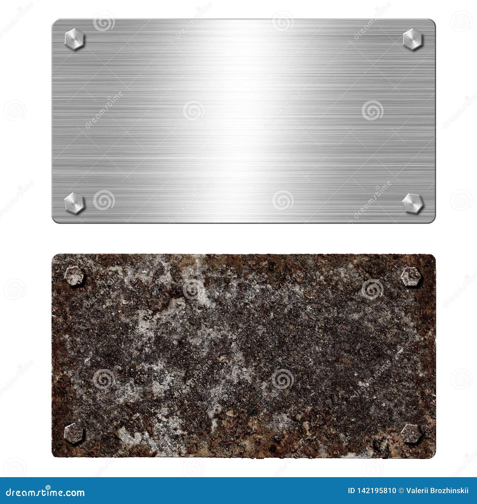 Skinande borstad metallaluminium- eller stålskylt rostigt stål för platta Textur och bakgrund av polerad skinande och rostig meta