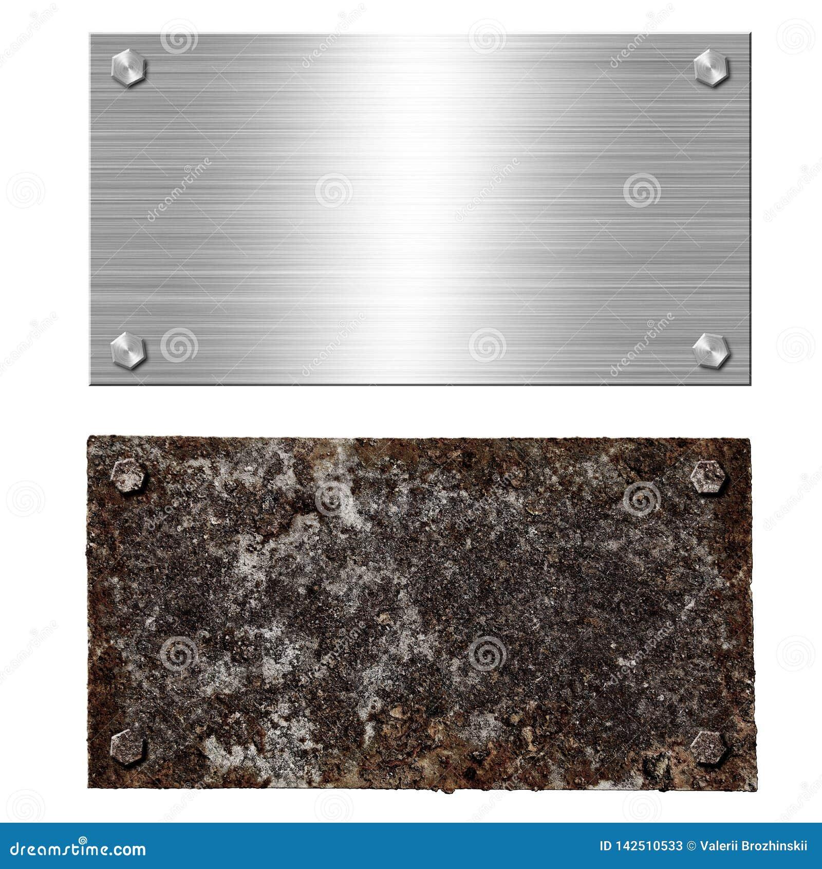 Skinande borstad skruv för skylt för metallaluminiumstål Rostiga bultar för stålplatta Texturera bakgrund av polerad skinande ros