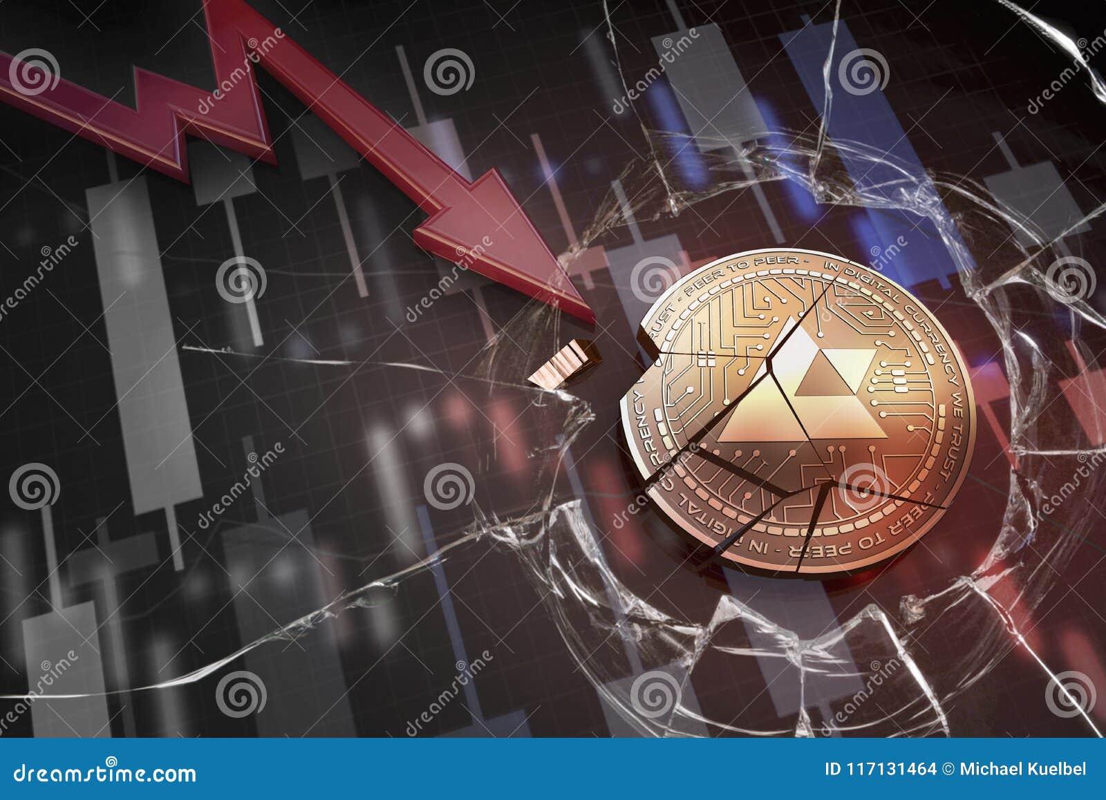 Skinande guld- AUCTUS-cryptocurrencymynt som är brutet på tolkning för underskott 3d för negativ diagramkraschbaisse fallande bor
