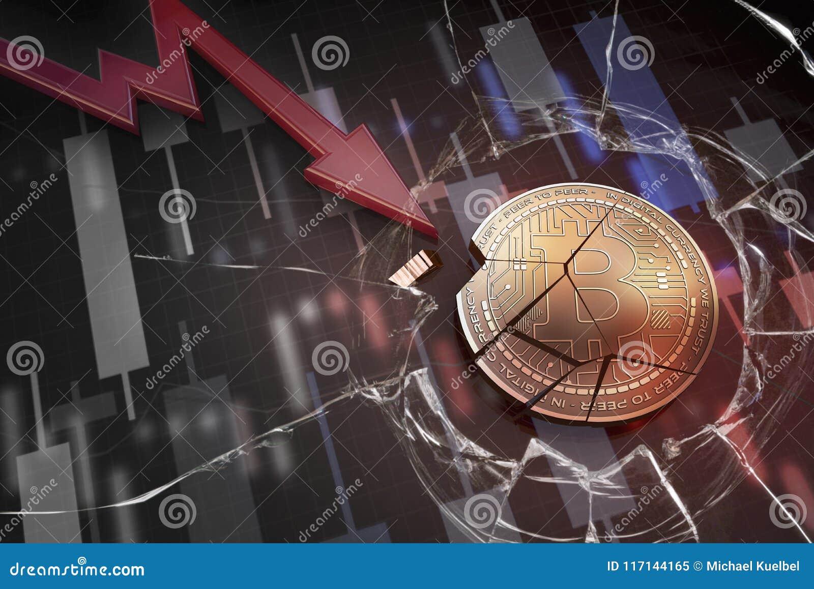 Skinande guld- BITCOIN-cryptocurrencymynt som är brutet på tolkning för underskott 3d för negativ diagramkraschbaisse fallande bo