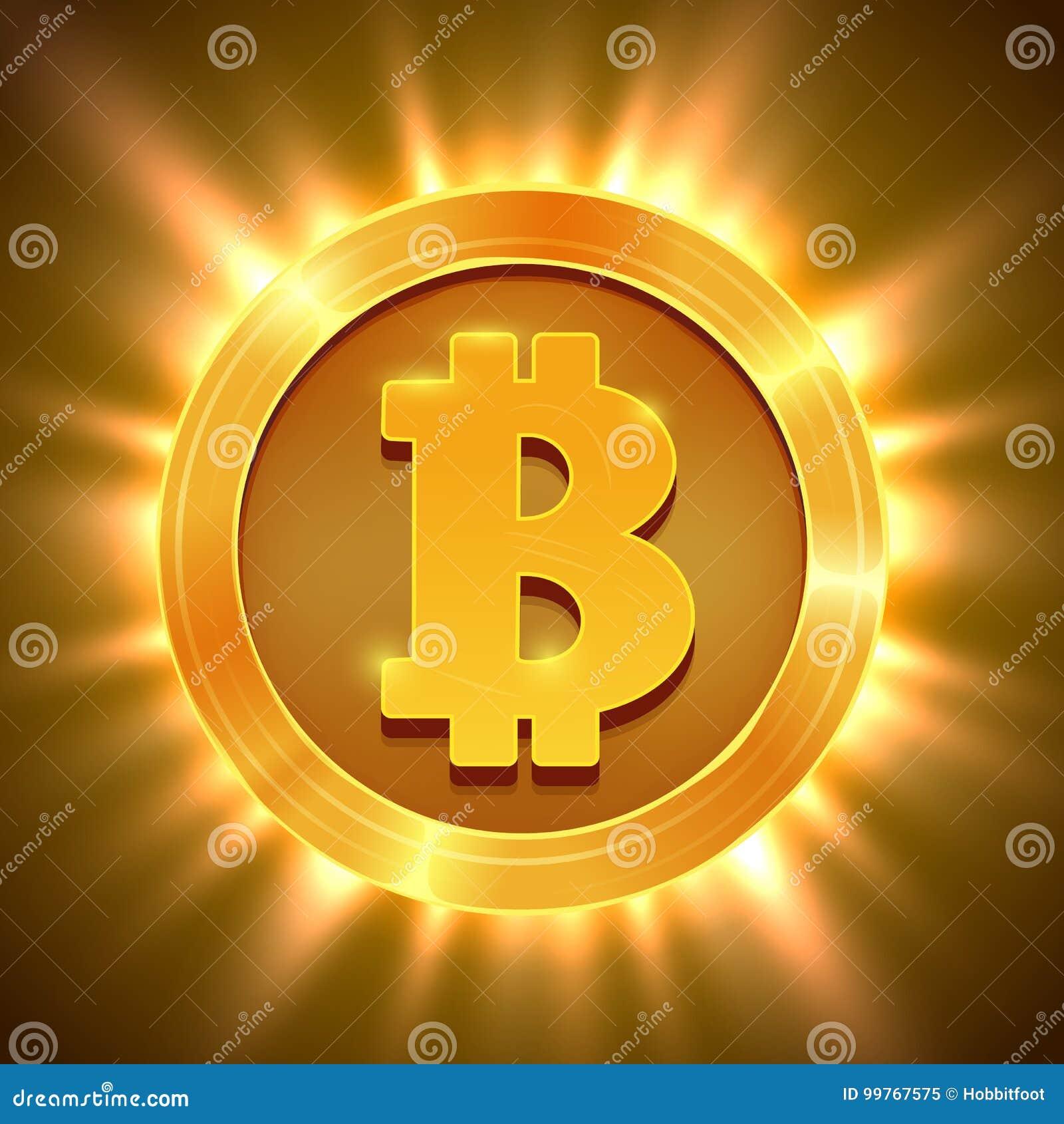 Skinande guld- bitcoin som isoleras på vit Blockchain begrepp