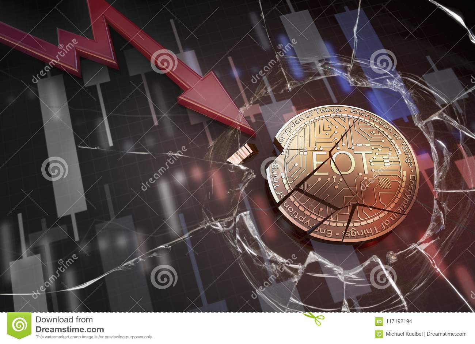 Skinande guld- EOT-cryptocurrencymynt som är brutet på tolkning för underskott 3d för negativ diagramkraschbaisse fallande bortta