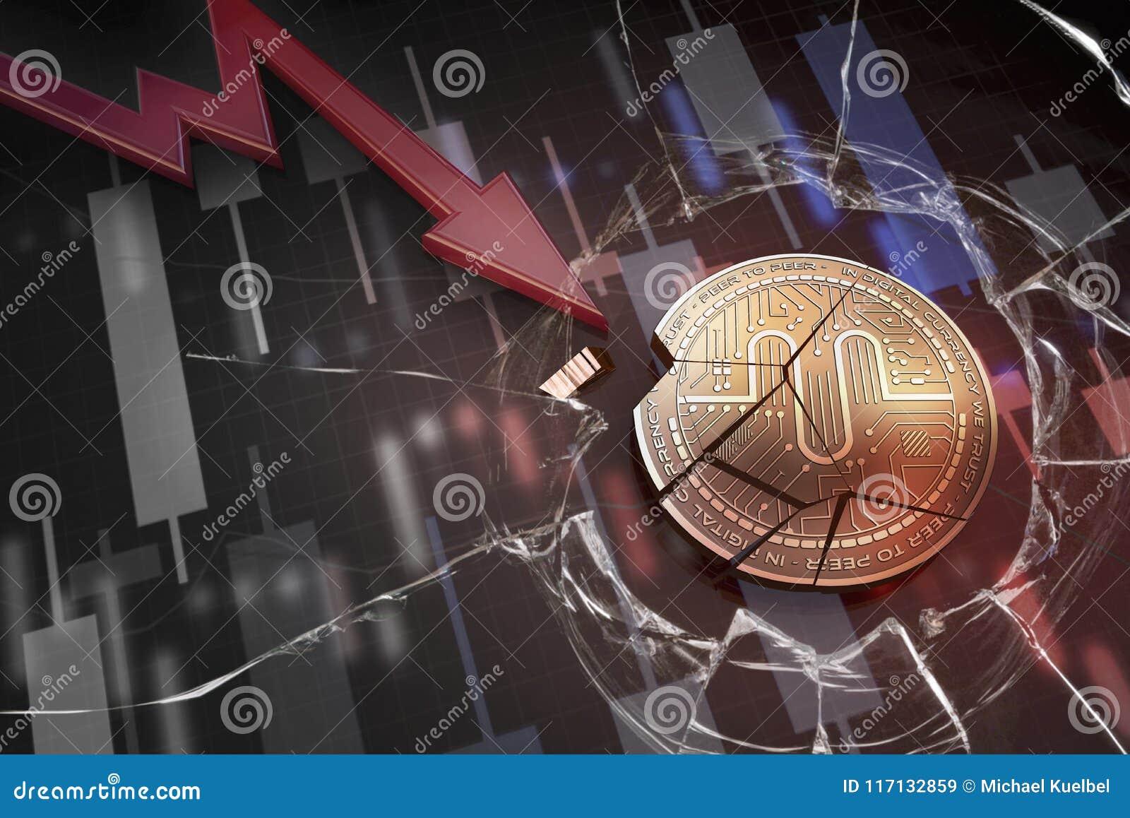 Skinande guld- FÖRFATTARSKAPcryptocurrencymynt som är brutet på tolkning för underskott 3d för negativ diagramkraschbaisse fallan