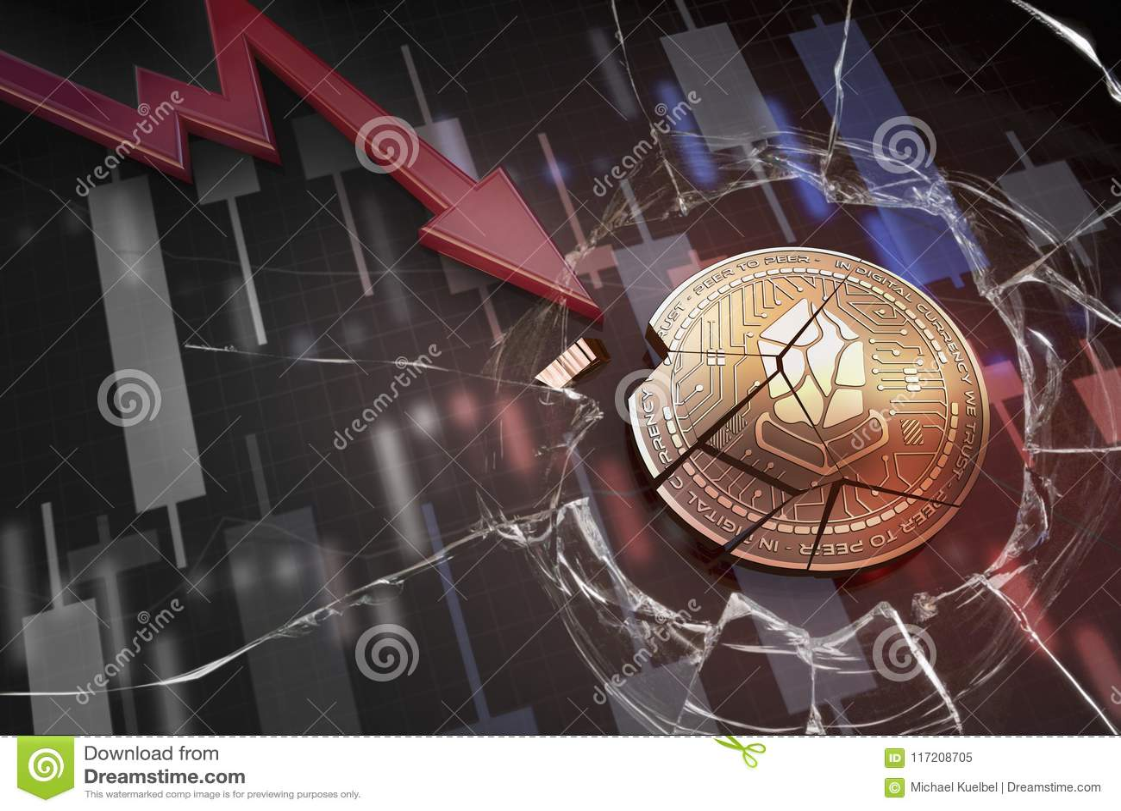 Skinande guld- LISK-cryptocurrencymynt som är brutet på tolkning för underskott 3d för negativ diagramkraschbaisse fallande bortt