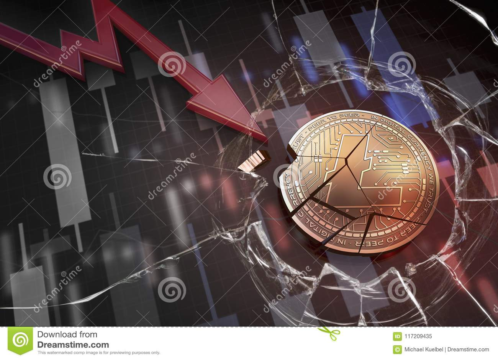 Skinande guld- LITECOIN-cryptocurrencymynt som är brutet på tolkning för underskott 3d för negativ diagramkraschbaisse fallande b