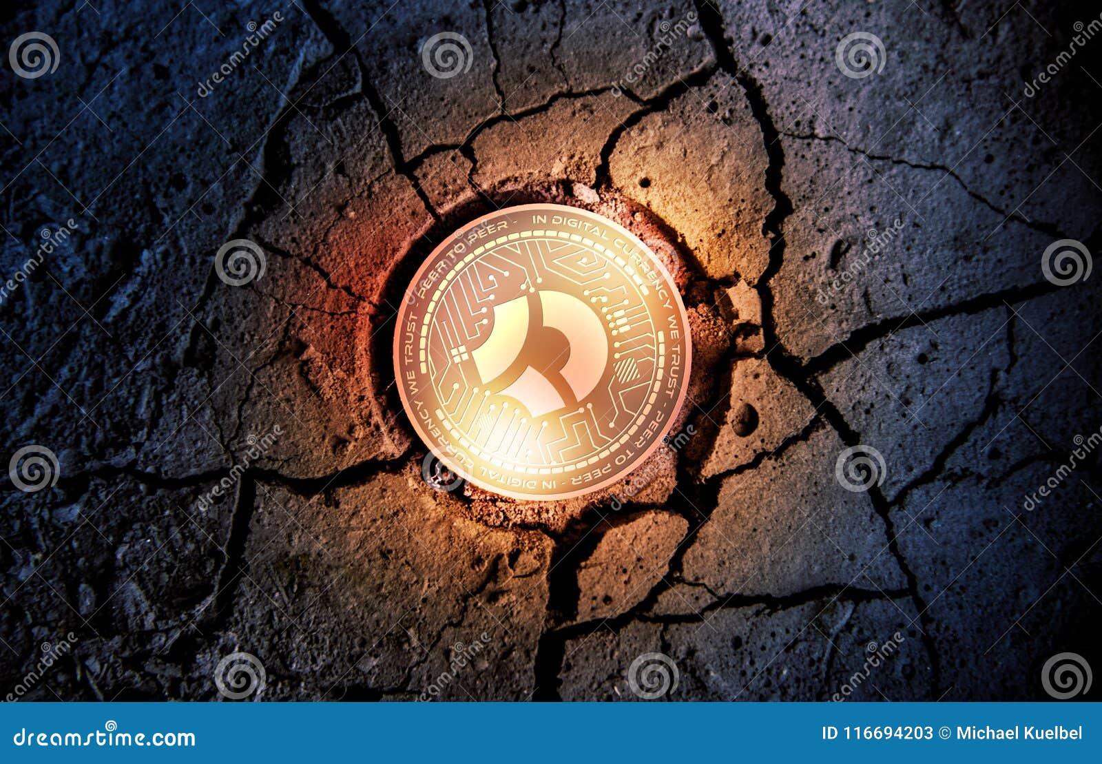 Skinande guld- MÖRKT cryptocurrencymynt för BITCOIN på torrt bryta för jordefterrättbakgrund