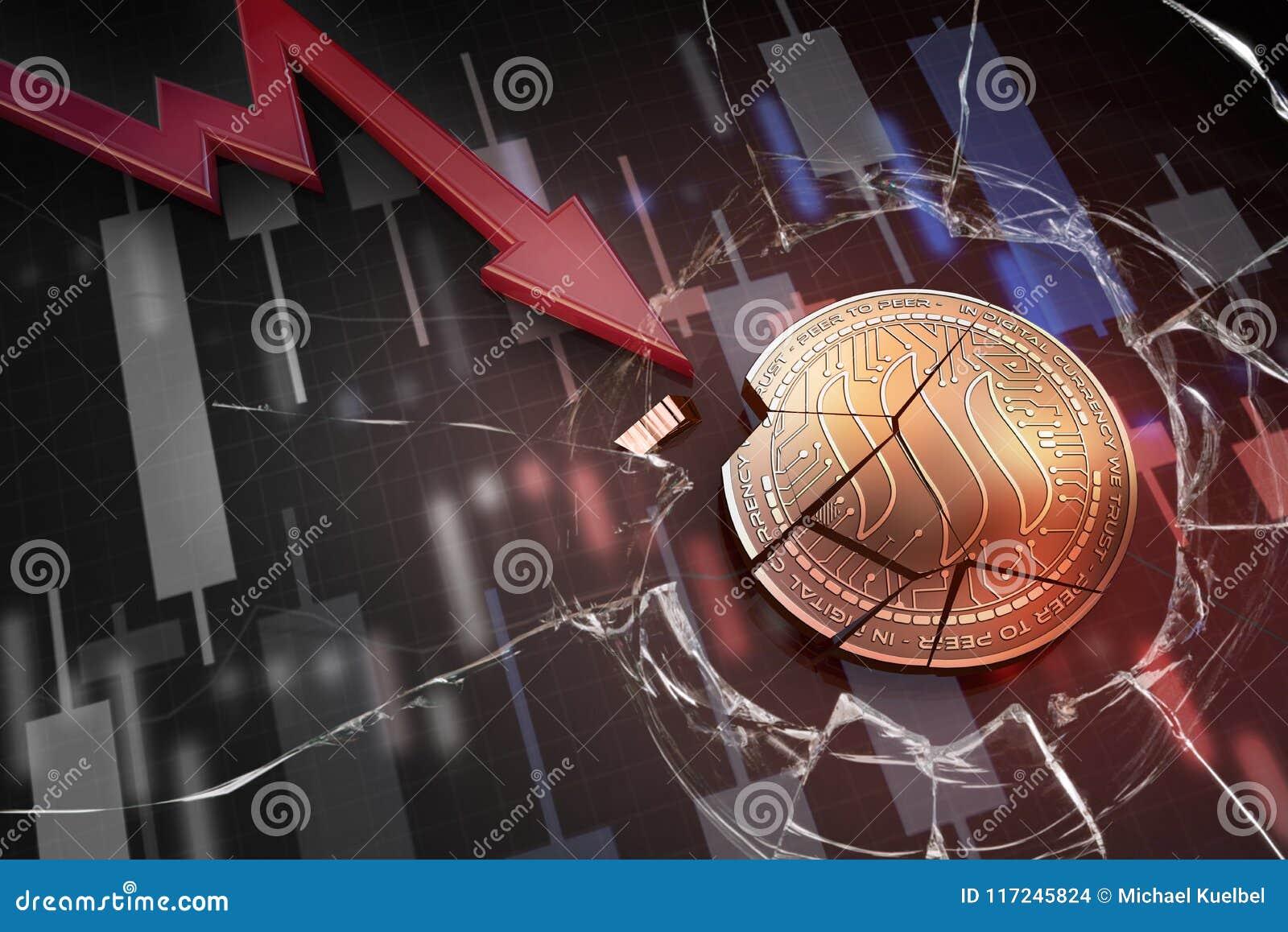 Skinande guld- STEEM-cryptocurrencymynt som är brutet på tolkning för underskott 3d för negativ diagramkraschbaisse fallande bort