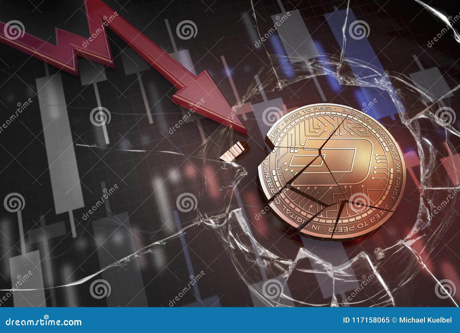 Skinande guld- STRECKcryptocurrencymynt som är brutet på tolkning för underskott 3d för negativ diagramkraschbaisse fallande bort