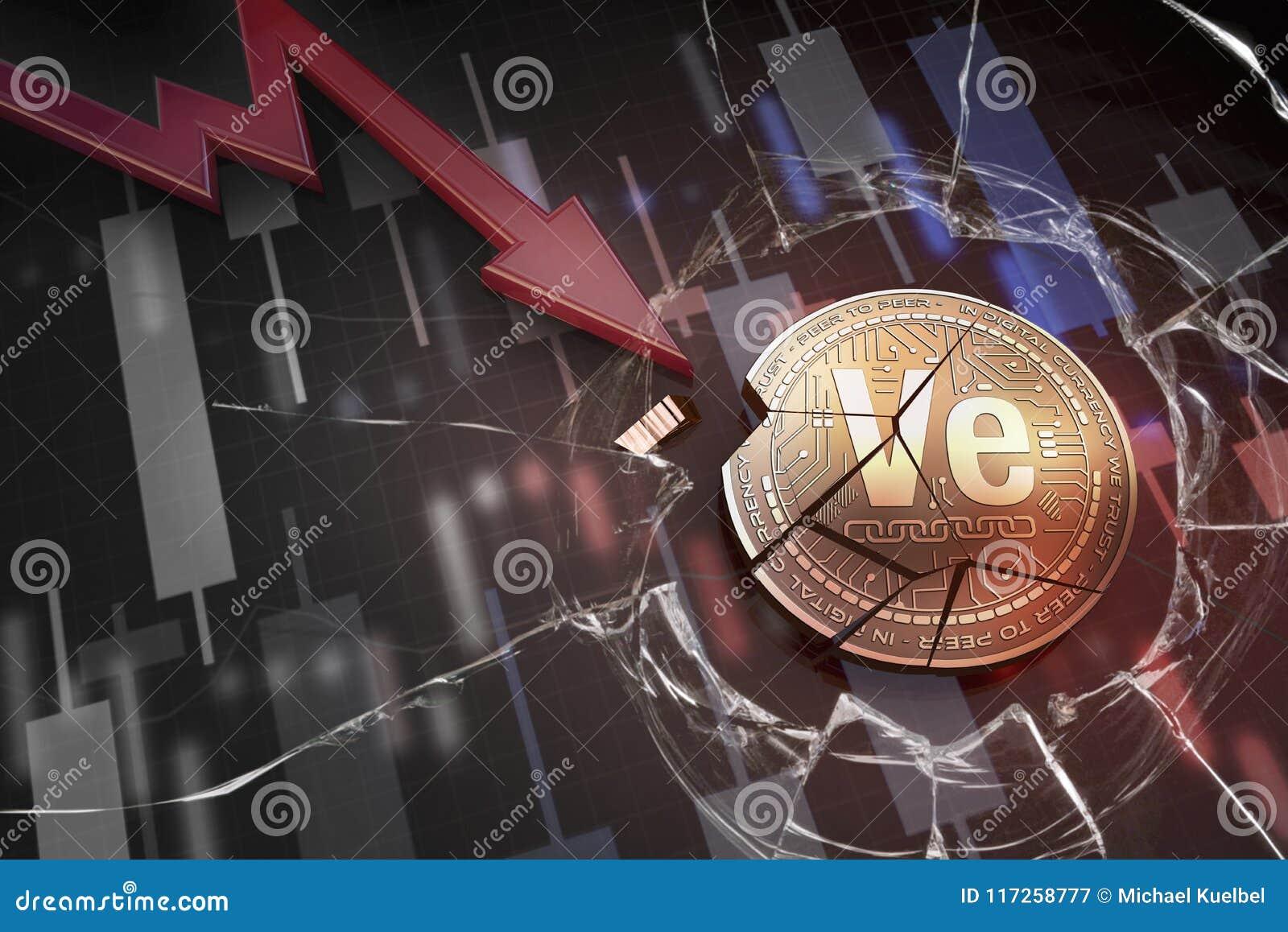Skinande guld- VERITASEUM-cryptocurrencymynt som är brutet på tolkning för underskott 3d för negativ diagramkraschbaisse fallande