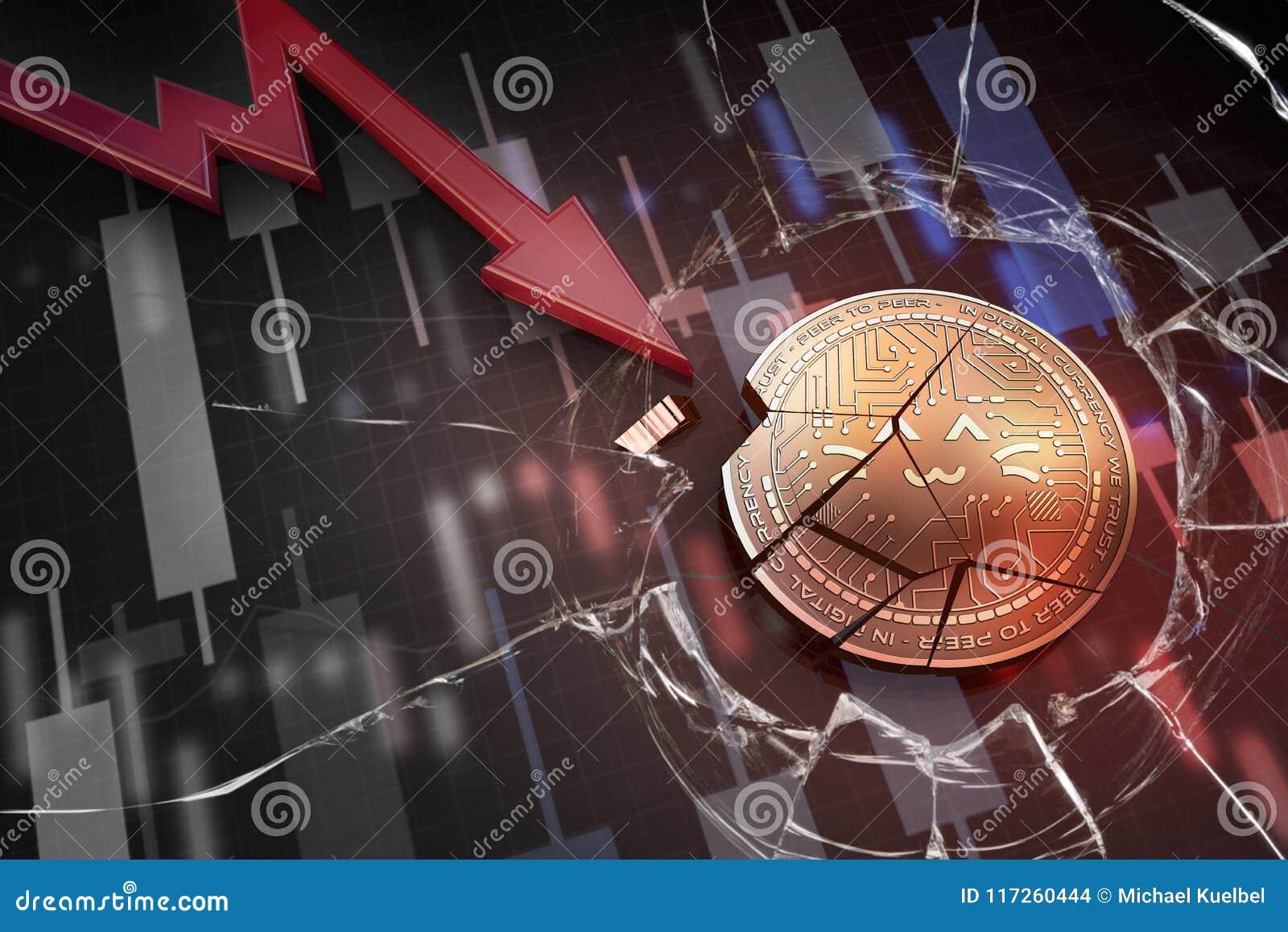 Skinande guld- WYS-cryptocurrencymynt som är brutet på tolkning för underskott 3d för negativ diagramkraschbaisse fallande bortta