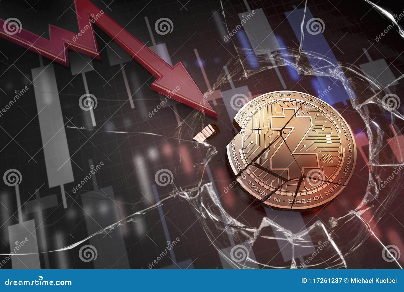 Skinande guld- Z--CASHcryptocurrencymynt som är brutet på tolkning för underskott 3d för negativ diagramkraschbaisse fallande bor