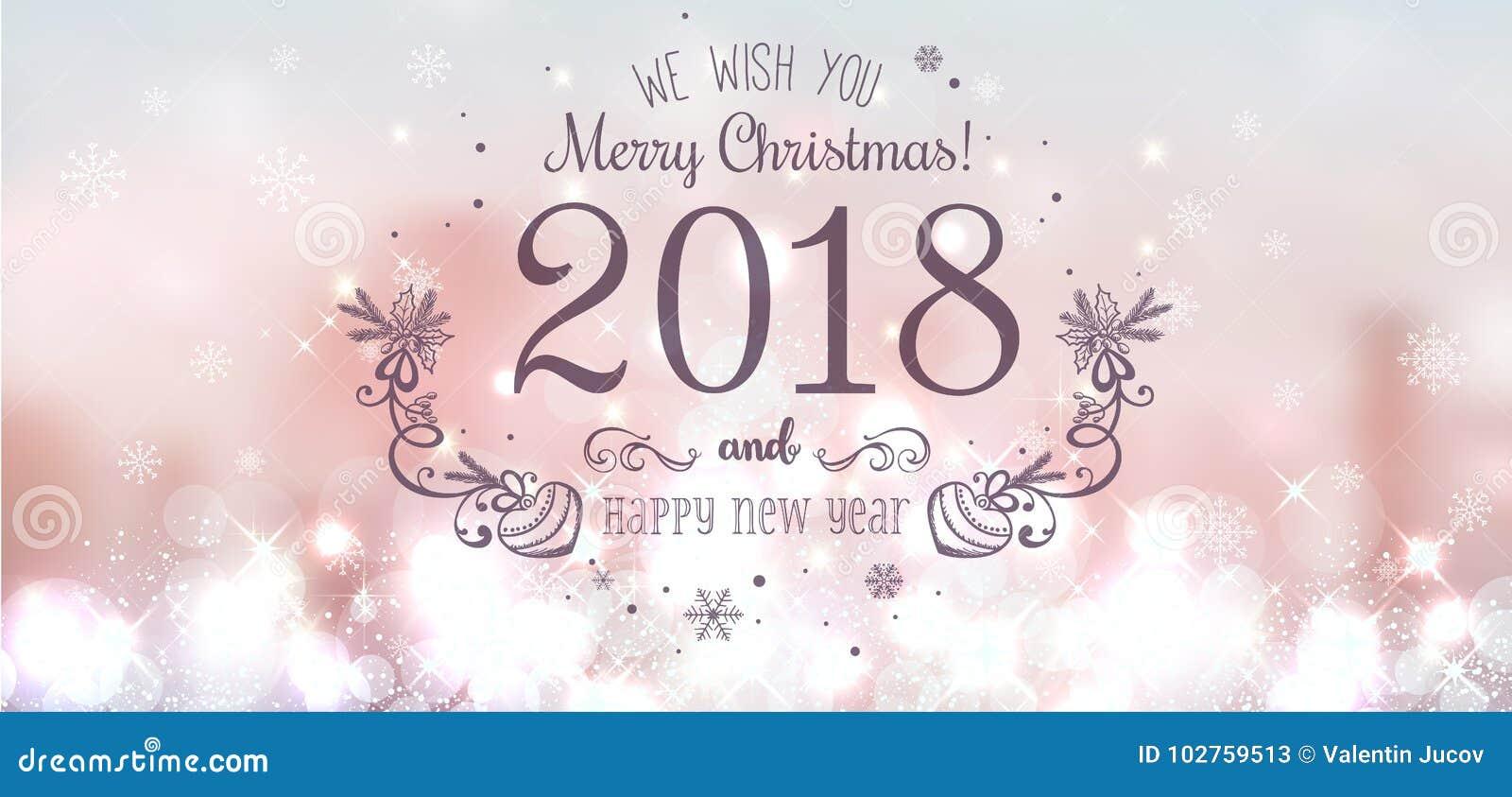 Skinande jul klumpa ihop sig för glad jul 2018 och det nya året på härlig bakgrund med ljus, stjärnor, snöflingor