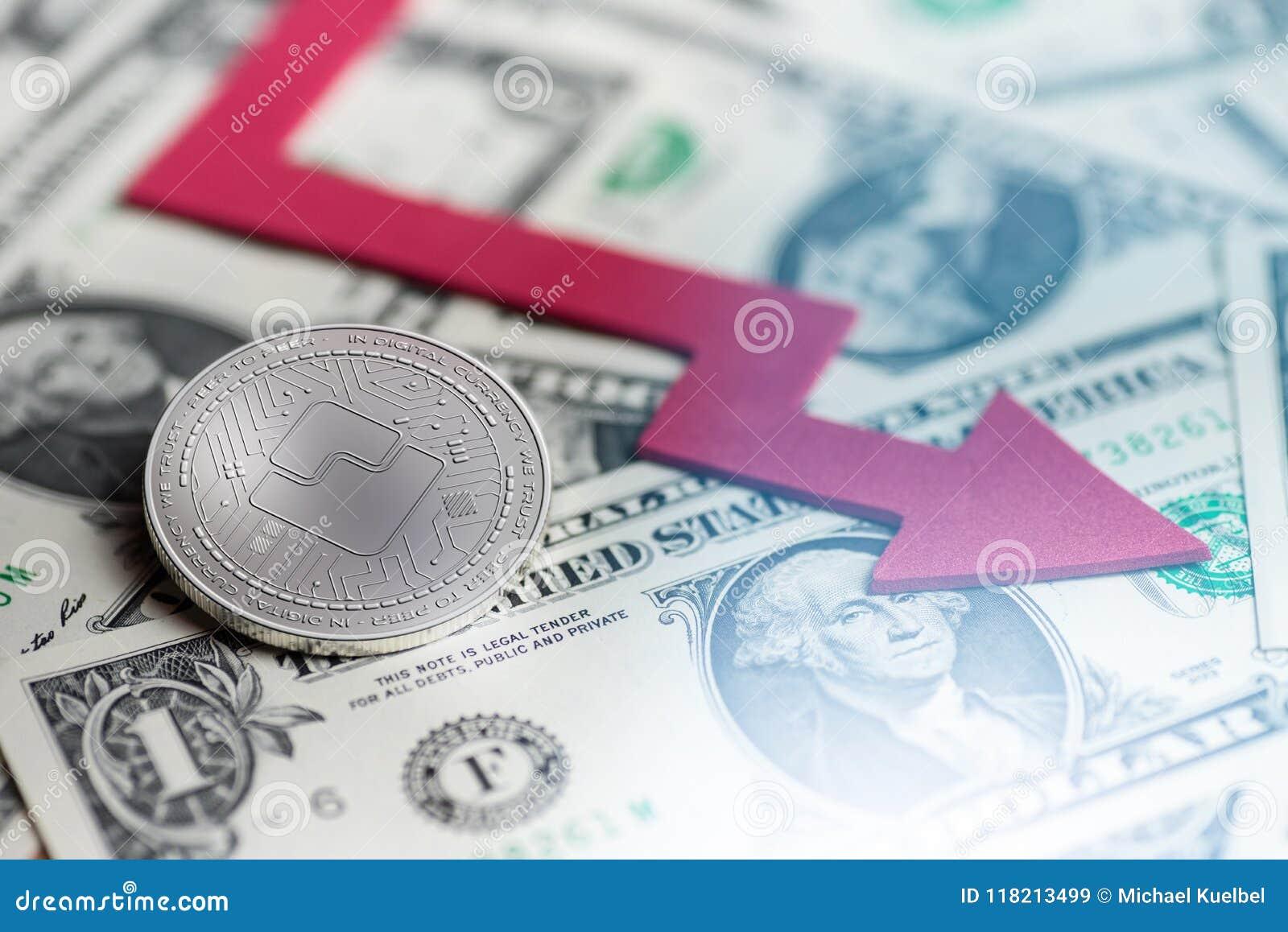 Skinande mynt för silverVÅGcryptocurrency med tolkningen för underskott 3d för negativ diagramkraschbaisse den fallande borttappa