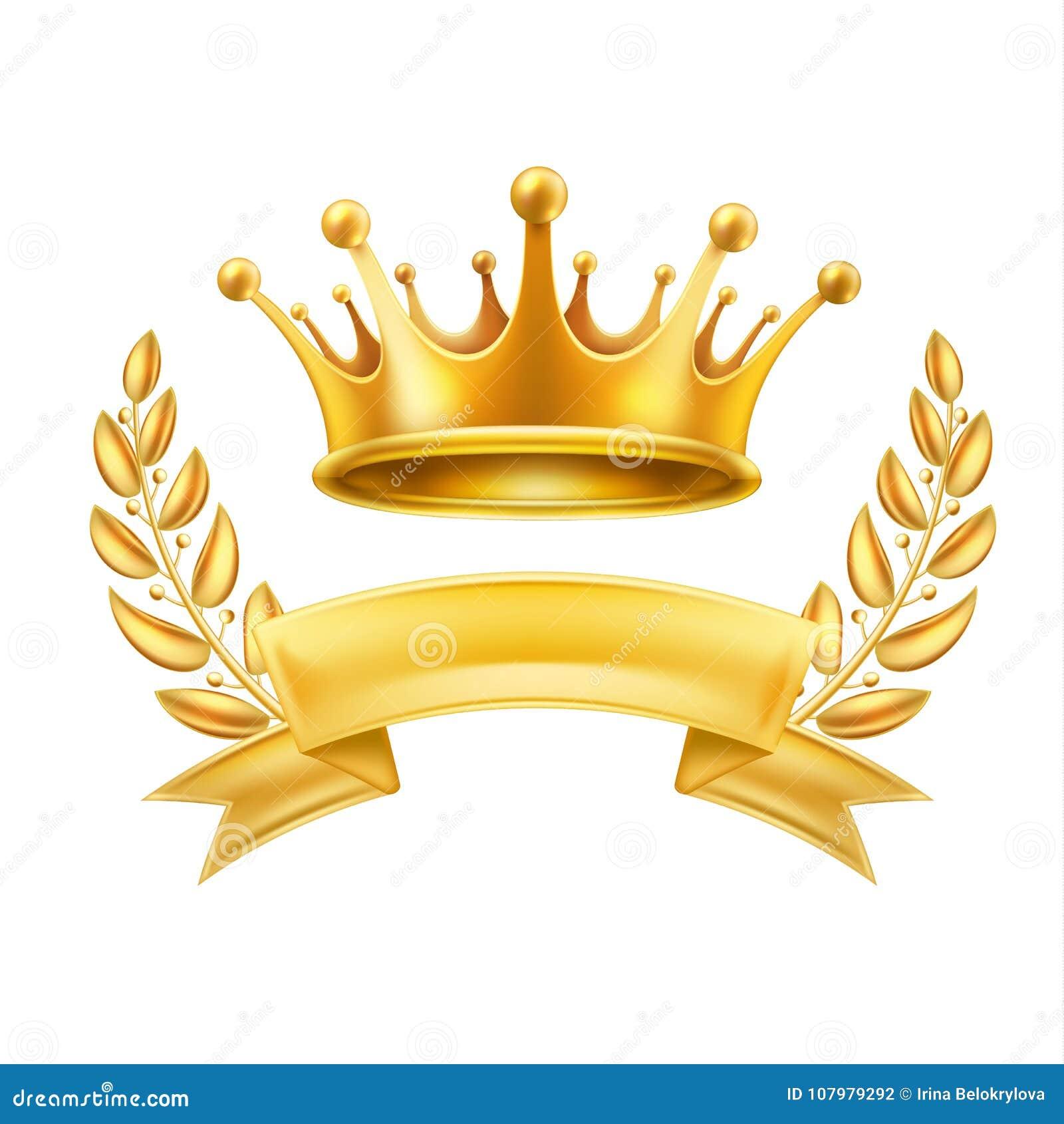 Skinande tecken för guld- för kronabandlager vinnare för krans