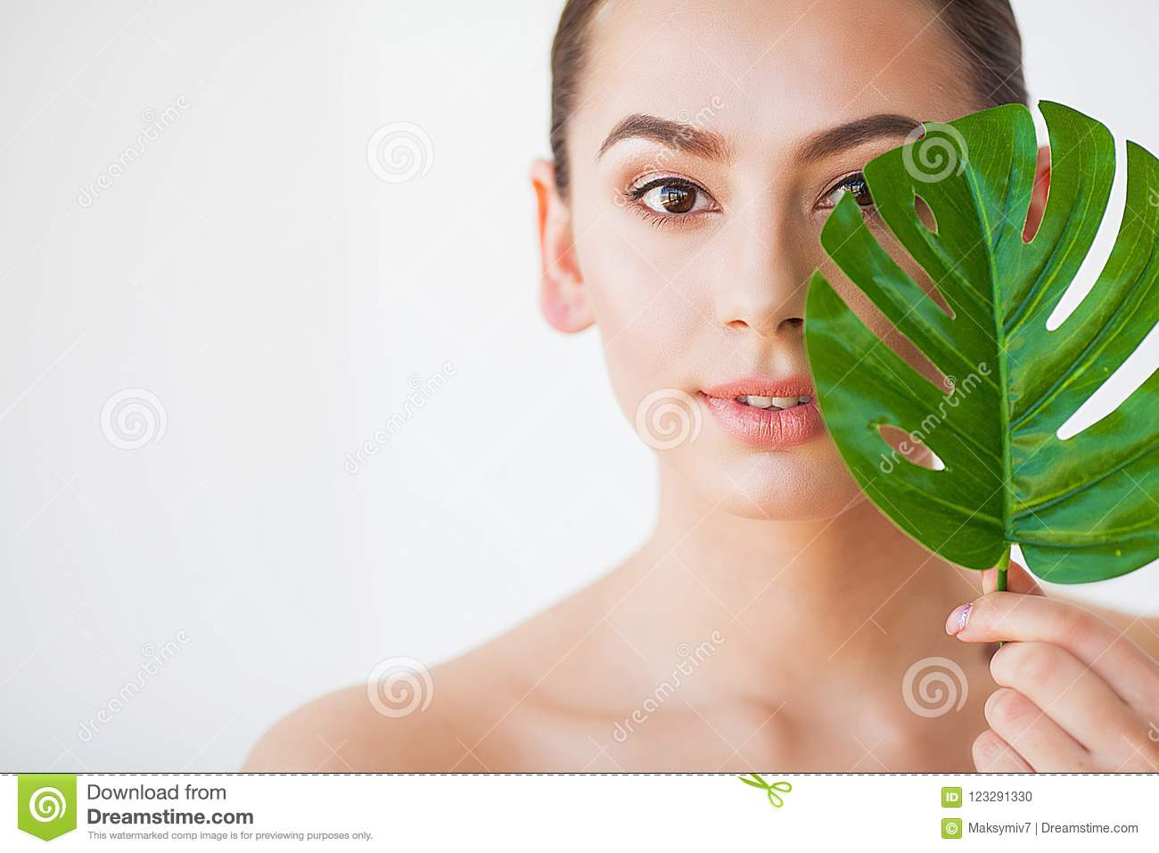 Skincare Beautiful Woman Portrait On White Background With Clean Skin And Green Leaf In Hand Stock Photo Image Of Plant Extension 123291330