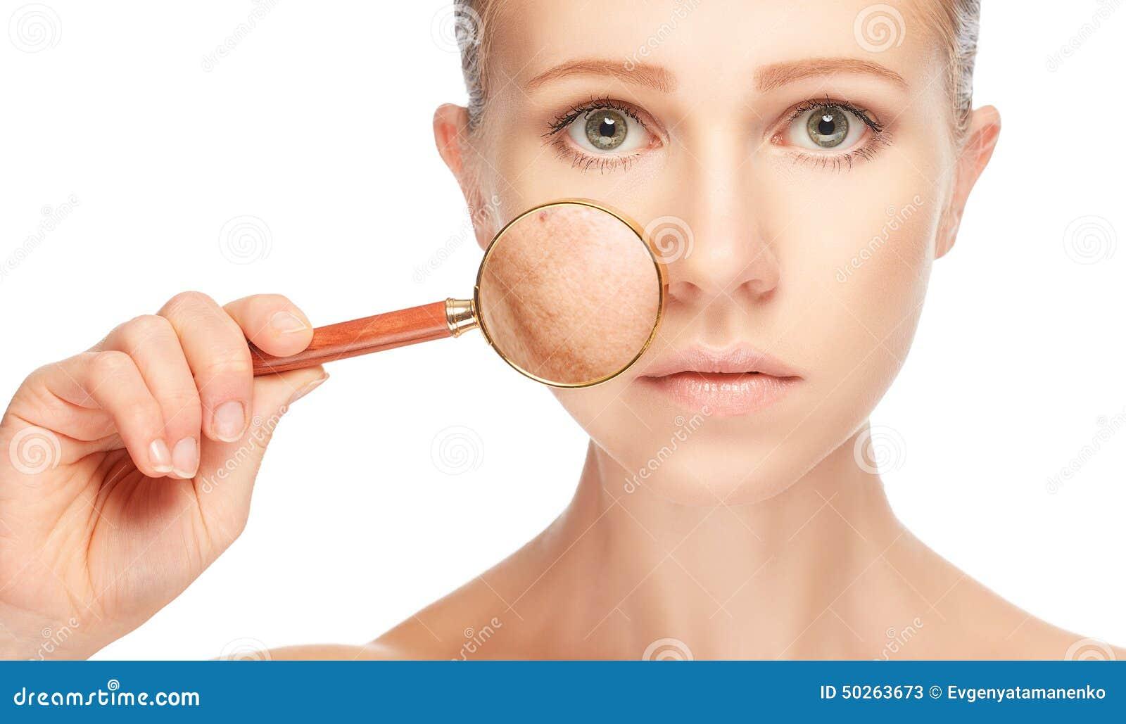 Skincare del concepto Piel de la mujer con la lupa antes y después