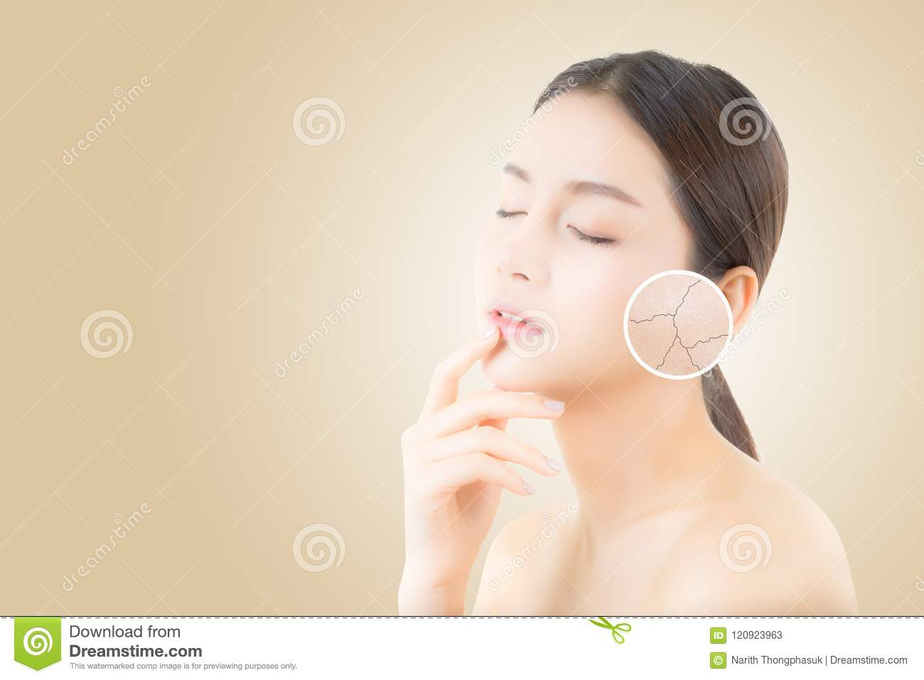 Skincare and health and cosmetics concept - beautiful asian young woman face with wrinkles