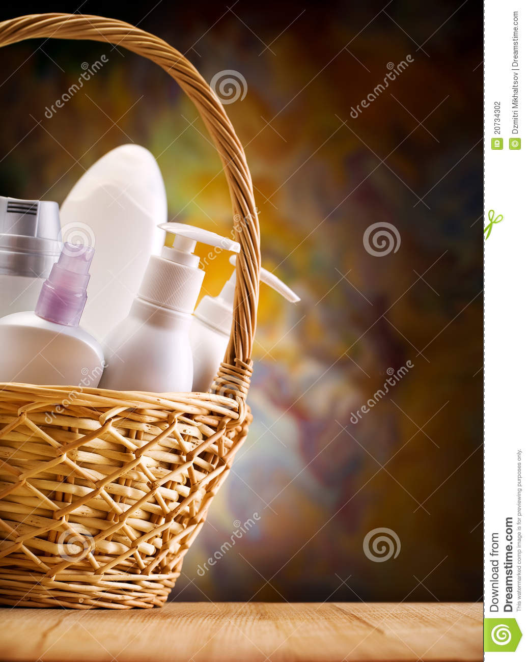 Skincare items in wicker basket