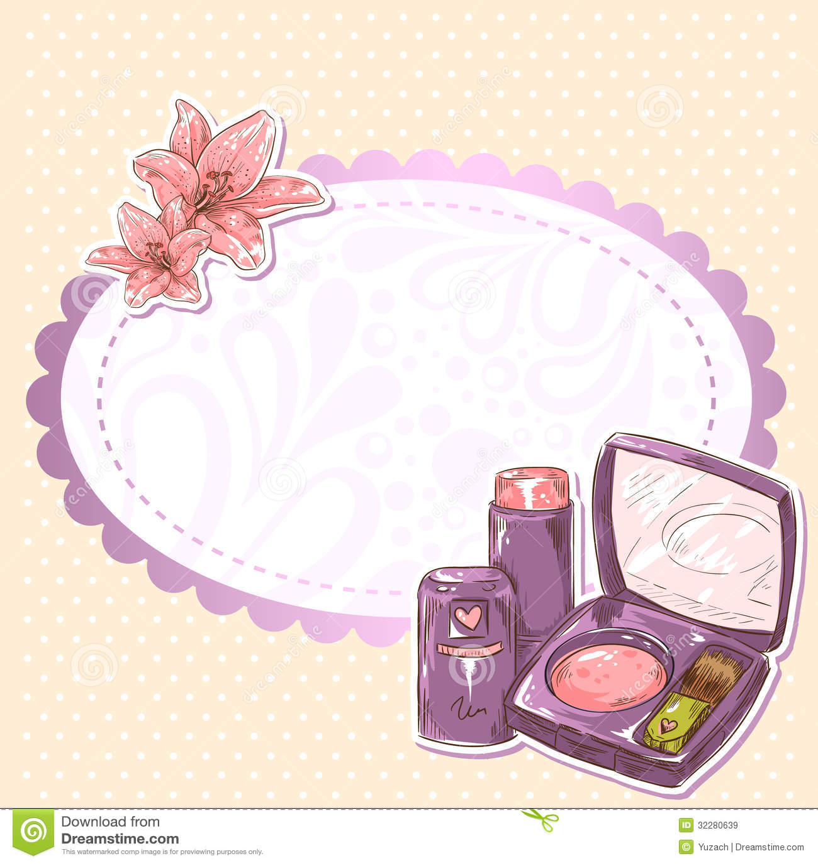Skincare Make-up Blusher, Eye-shadow And Lipstick Royalty Free ...