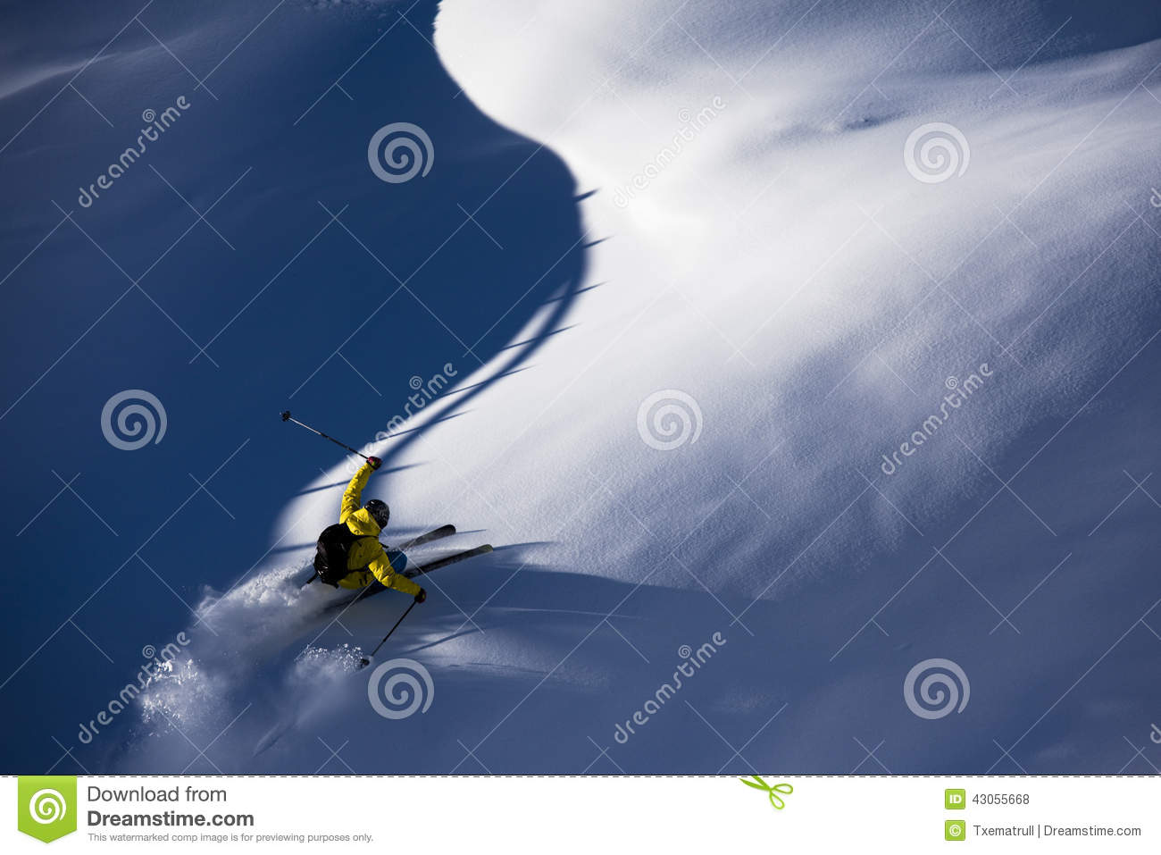 Skiing virgin powder