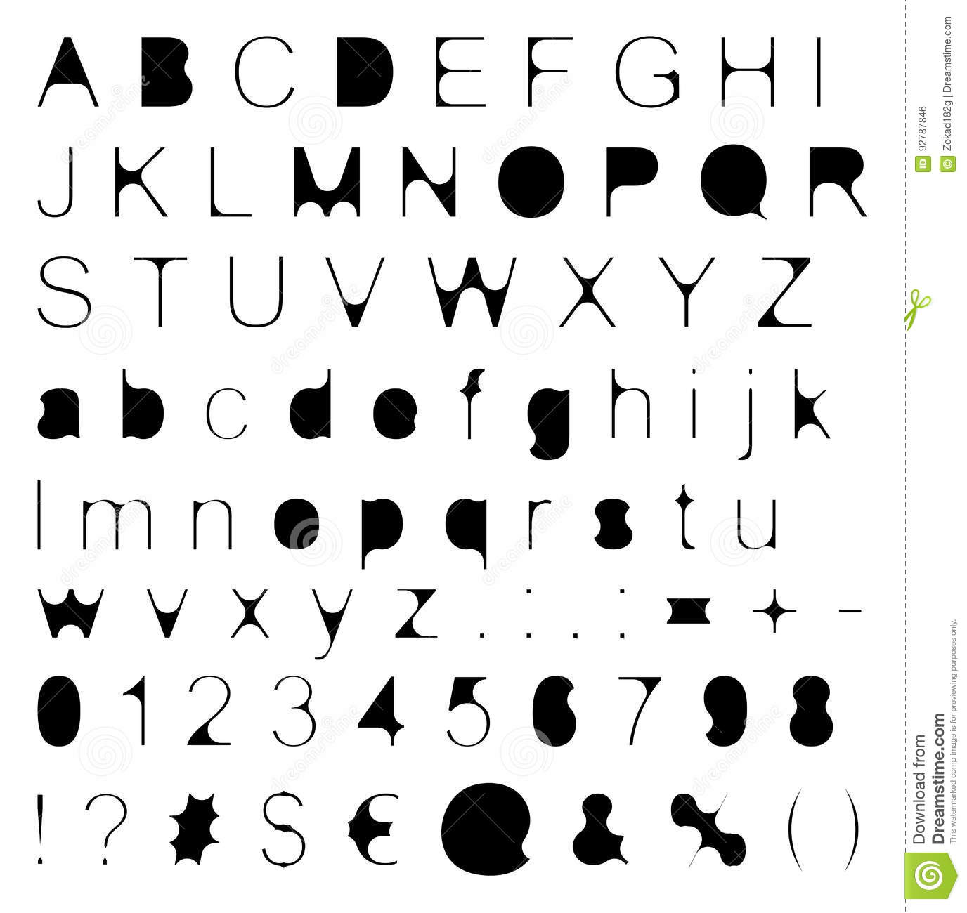 Skinny Fill Retro Font Big & Small Letters with Signs & Numbers