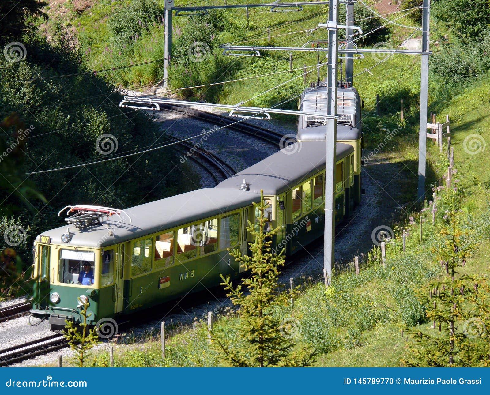 Wengen, Switzerland. 08/04/2009. Rack railway leading to the Jungfraujoch