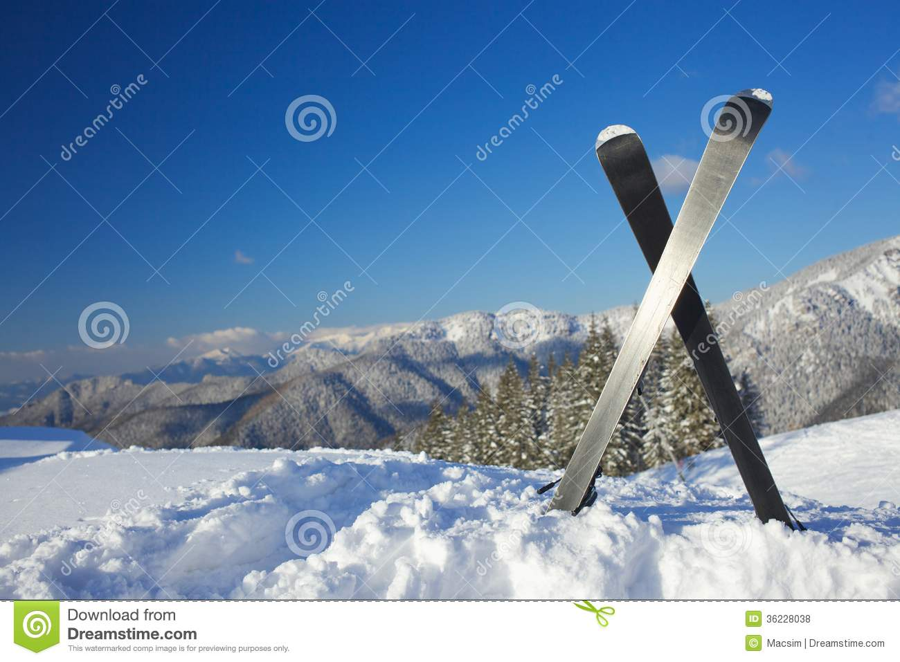 Skis in mountains royalty free stock photos image 36228038 for Vacation in the snow