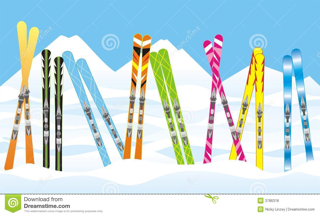 Illustration of a row of different coloured and patterned skis could ...