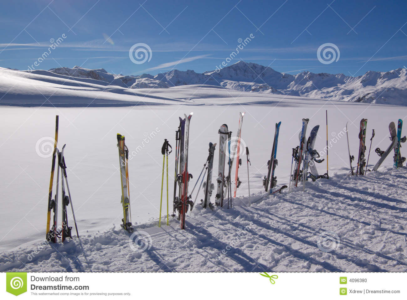 Skis and winter mountains
