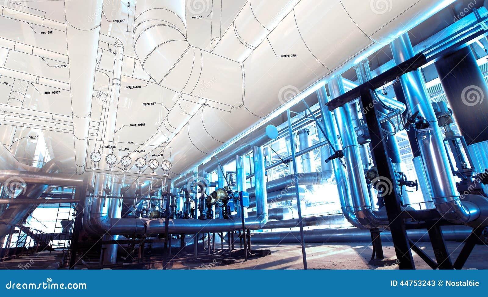 Skissa av att leda i rör design med fotoet för industriell utrustning