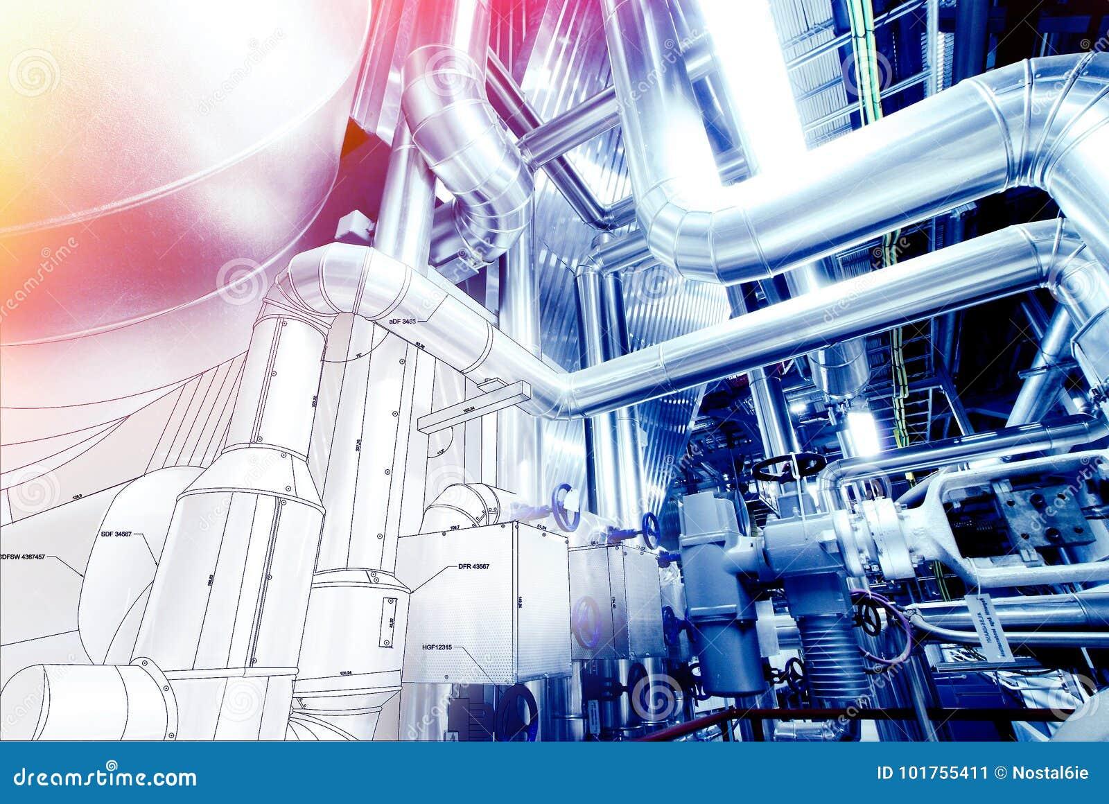 Skissa av att leda i rör designen som är blandad med fotoet för industriell utrustning