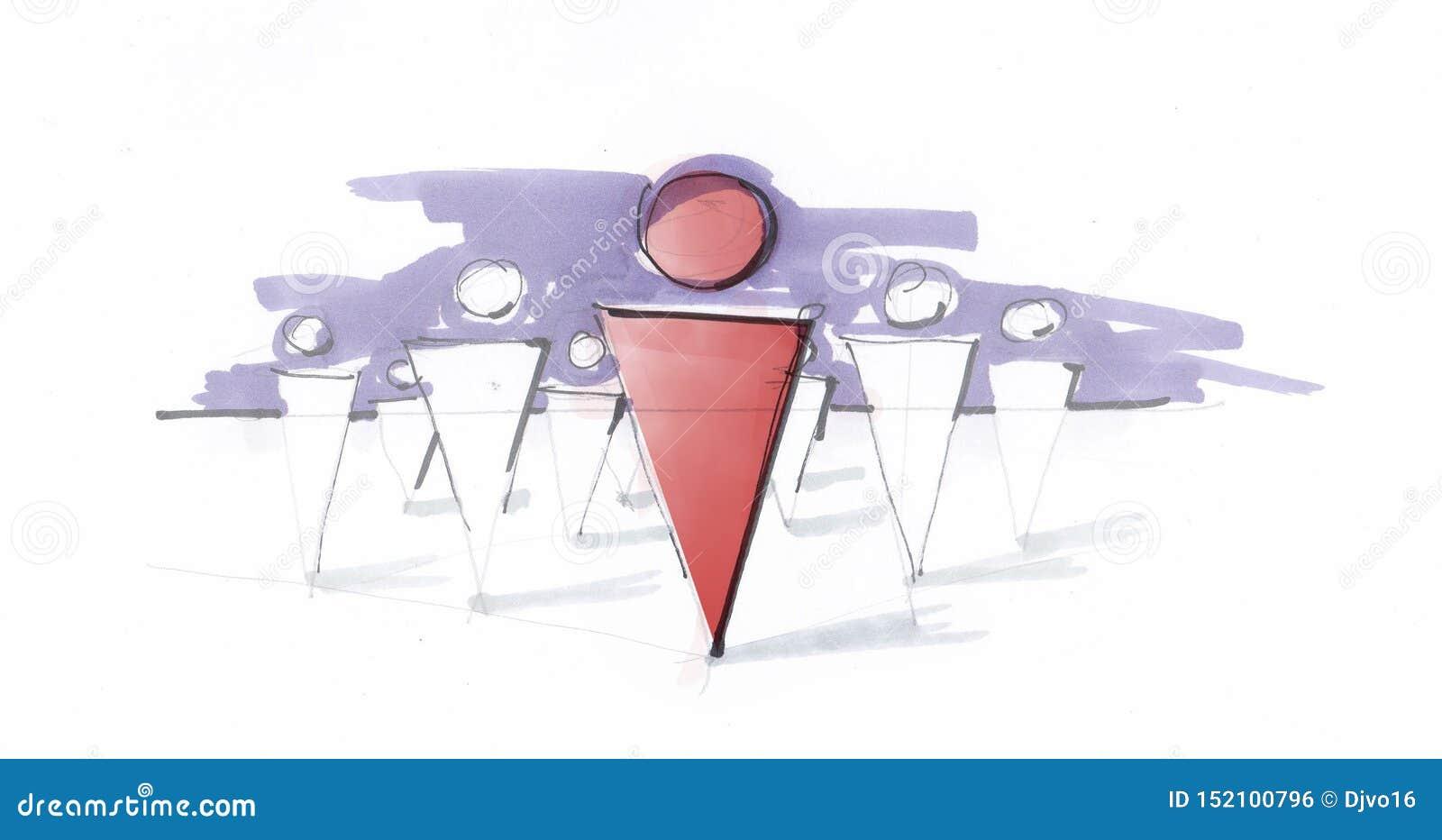 Skissa av en grupp människor som följer deras ledare begreppet av social eller affärsledarskap upphetsande idéform