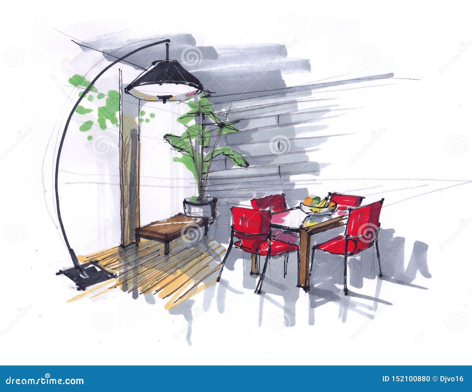 Skissa av matsalen blommor, tabell och röda stolar i området med stora Windows stor märkes- golvlampa Hand