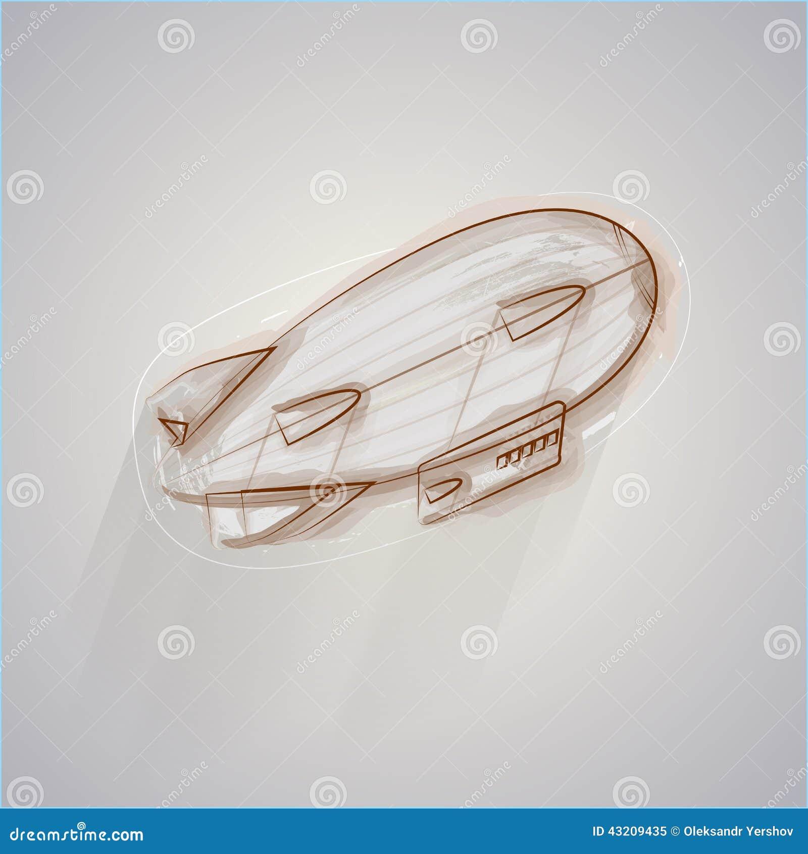 Download Skissa Illustrationen Av Zeppelinaren Vektor Illustrationer - Illustration av motor, sväller: 43209435