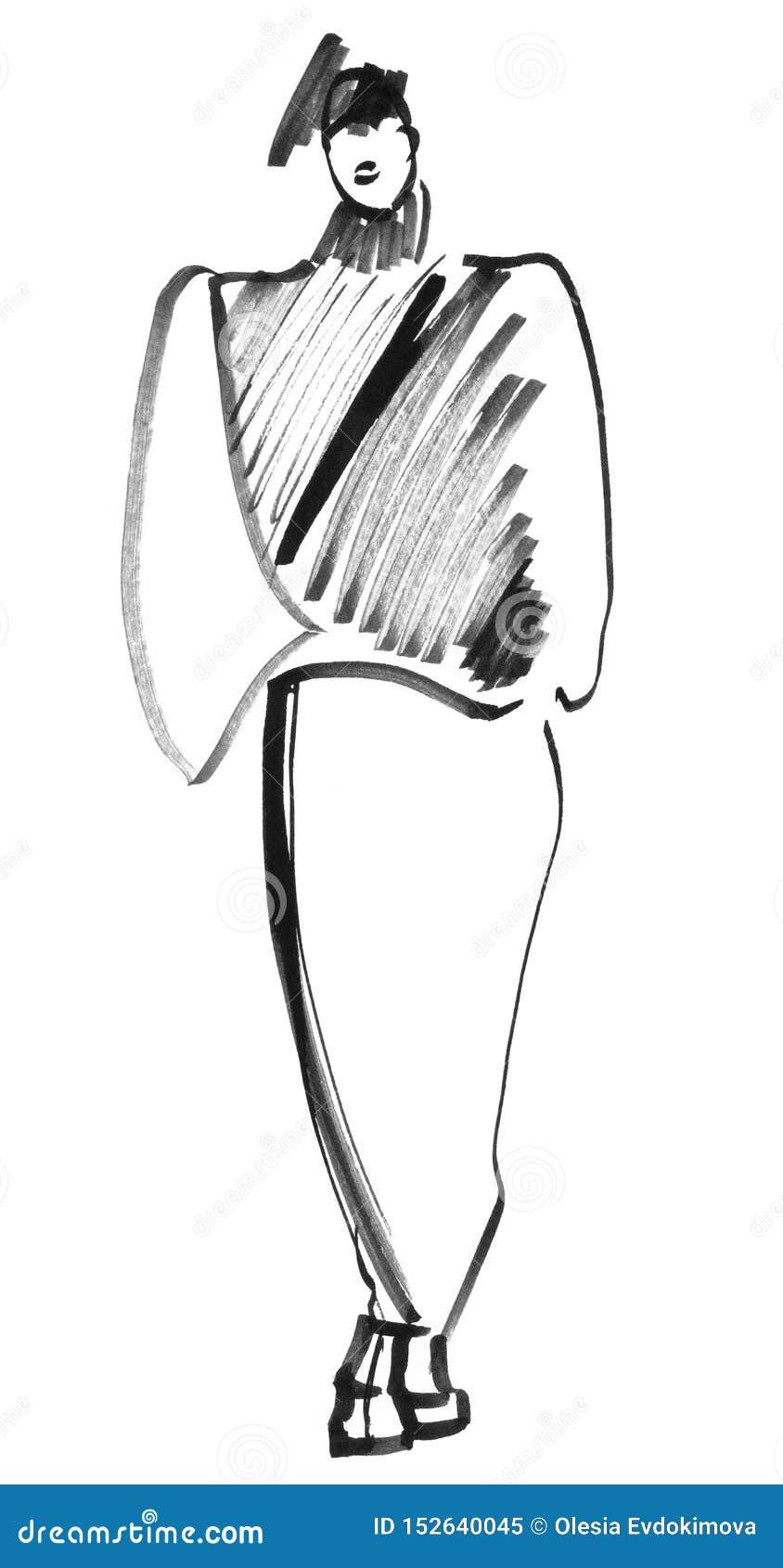 Skissa kvickt i svart Eightiesstil