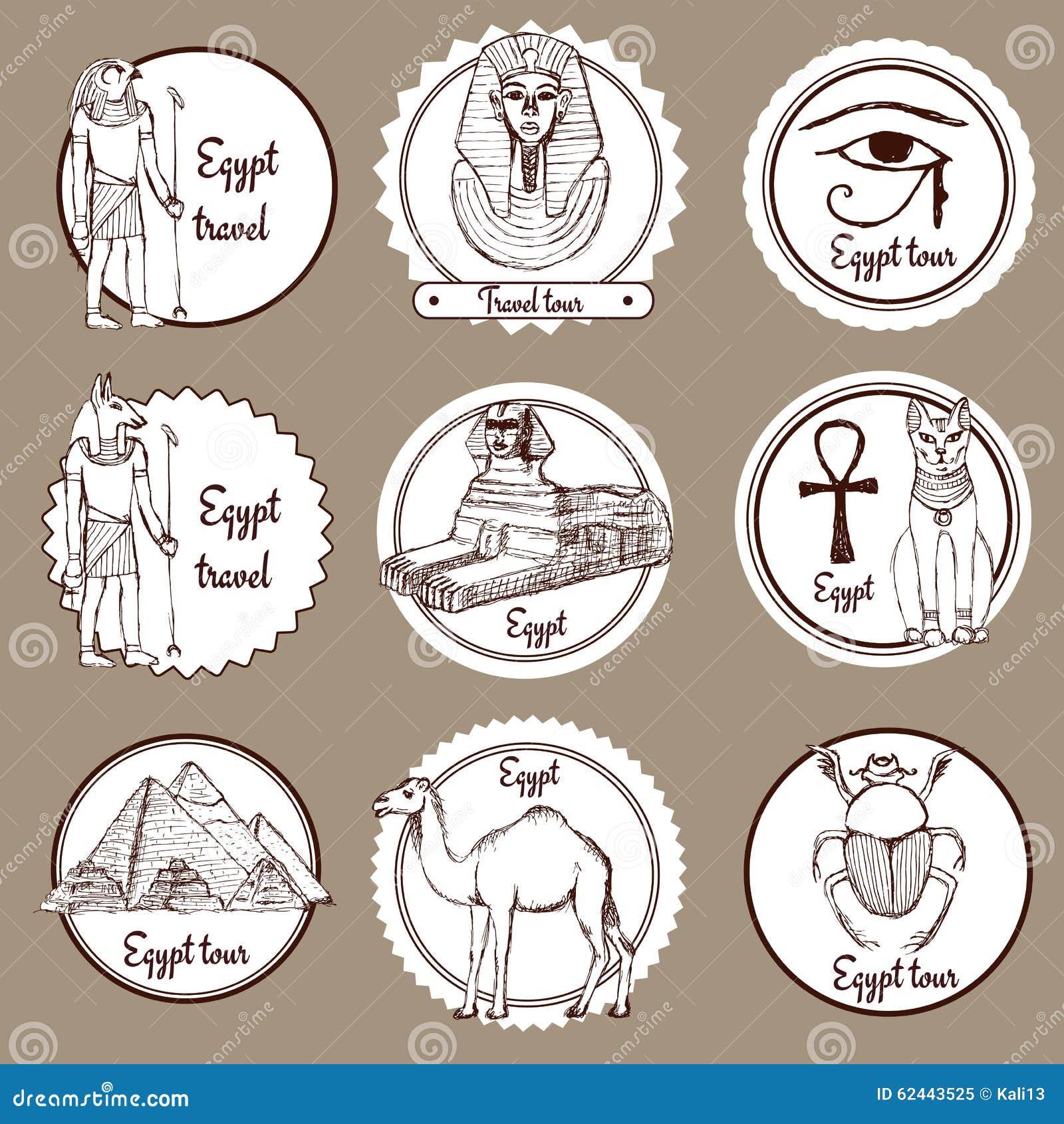 Skissa uppsättningen av Egypten etiketter