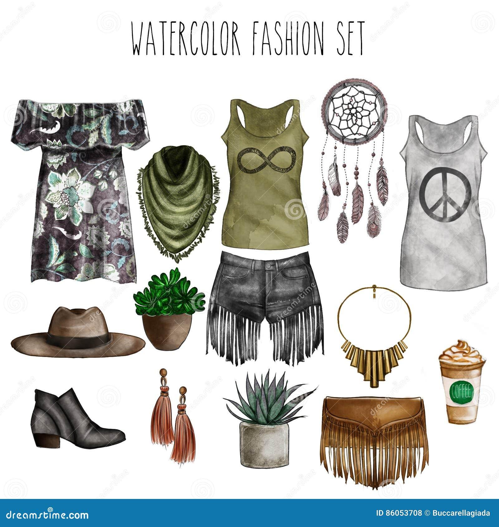 Skissar den digitala illustrationen för vattenfärgen - uppsättning för konst för vattenfärgmodegem - garderobväsentlighet - kvinn