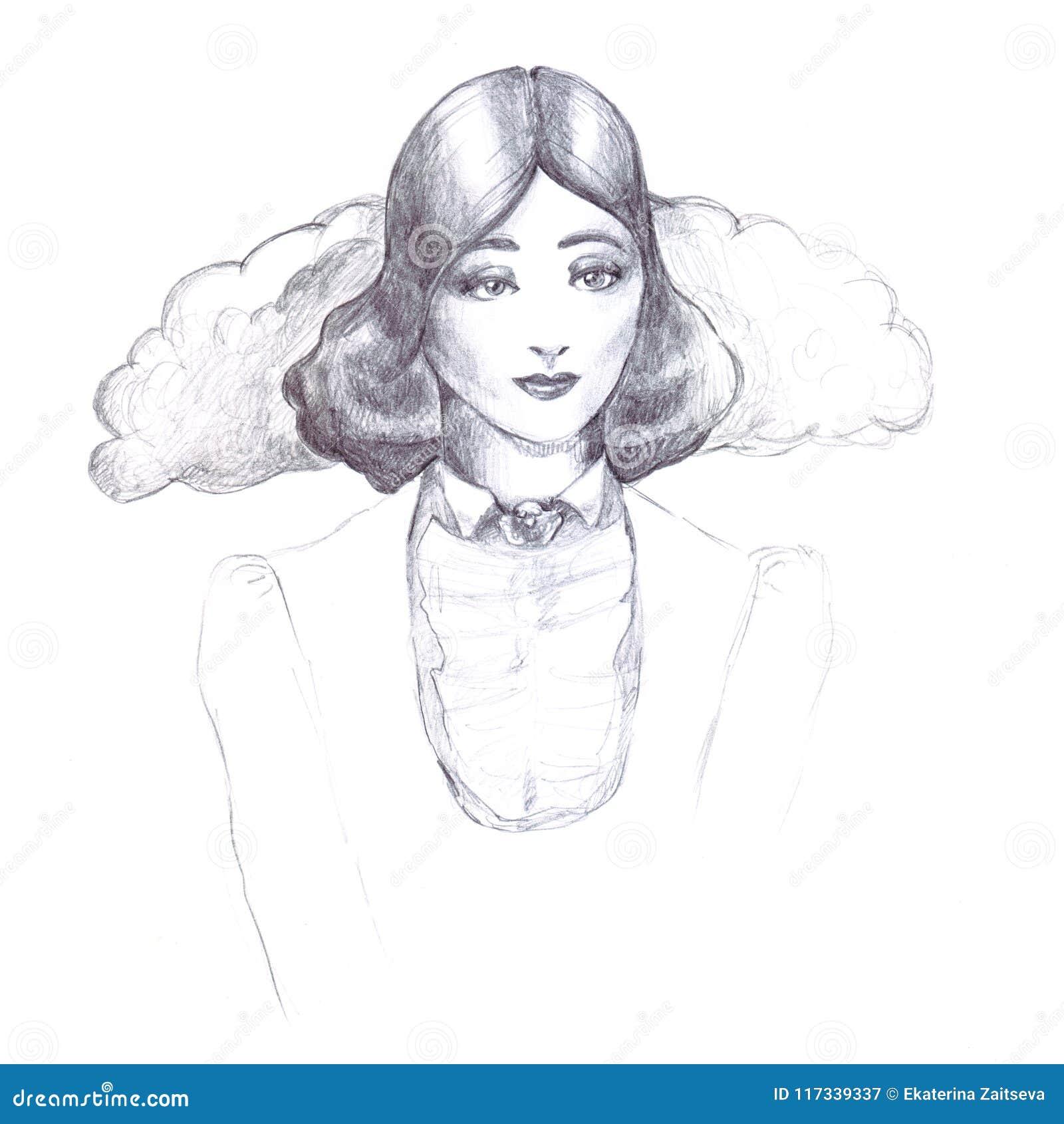 Skissar den retro tappningblyertspennan för flickan för kragesprattling för översikt trettiotal för frisyr för gammalmodigt omsla