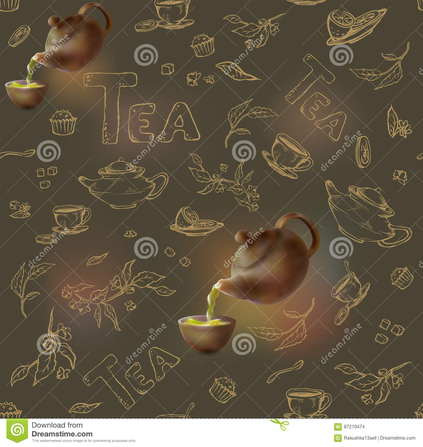 Skissar den sömlösa modellen för vektorn på en mörk bakgrundsguld av objekt för tebjudningen tekanna 3d och kopp, godis, citron