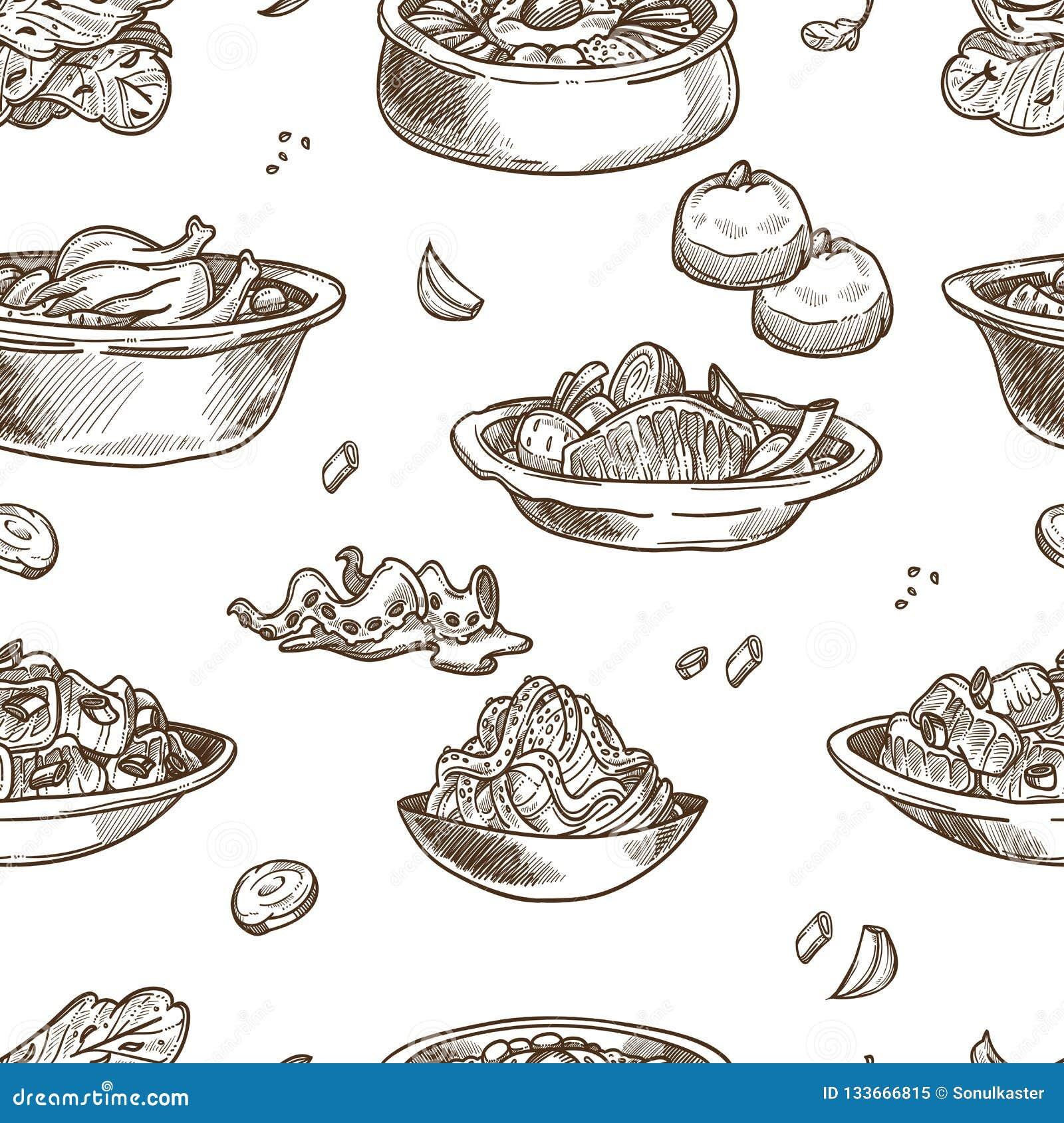 Skissar den traditionella disken för koreansk kokkonst den sömlösa modellen