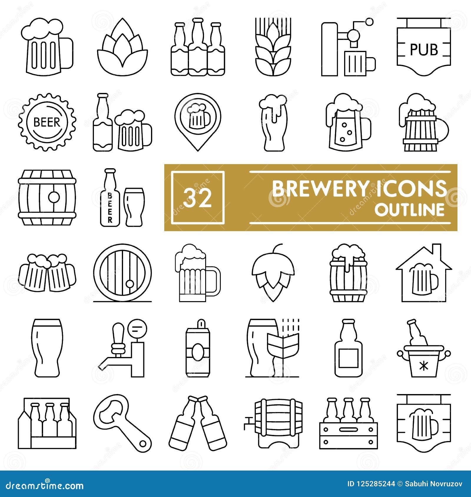 Skissar den tunna linjen symbolsuppsättningen, ölsymboler samlingen, vektor för bryggeriet, logoillustrationer, linjära pictogram