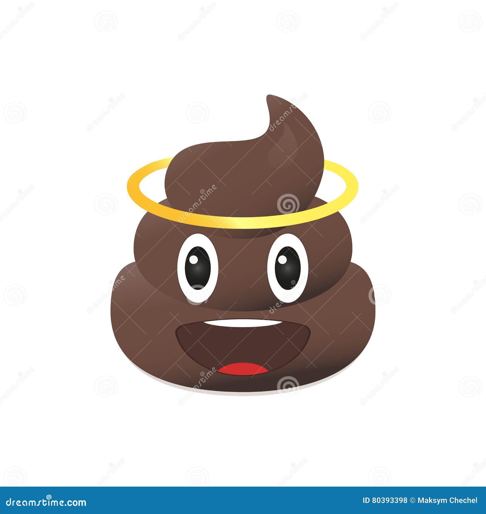 Skiten emoji Bajsemoticon Isolerad akterframsida