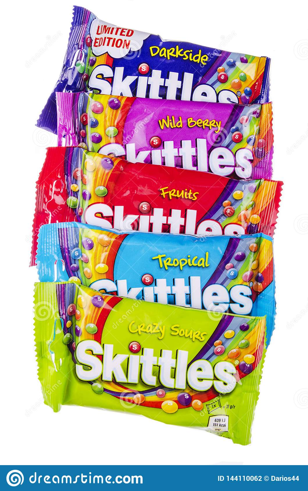 Skittles Fruit-flavoured Candies Isolated On White