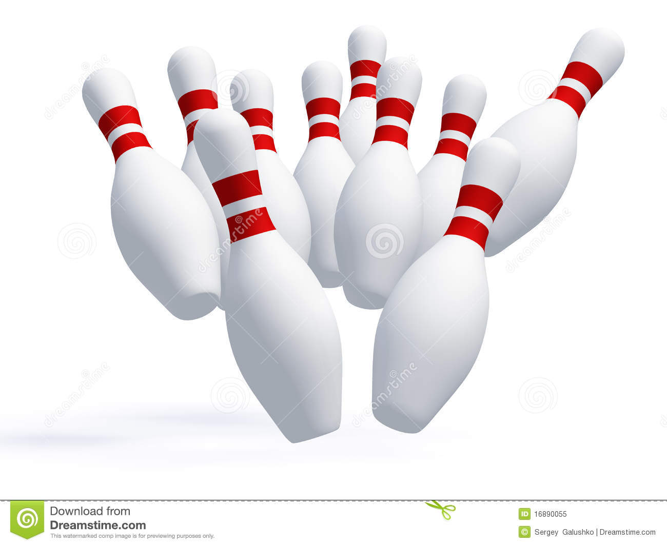 Skittles for game in bowling. It is isolated on a white background.