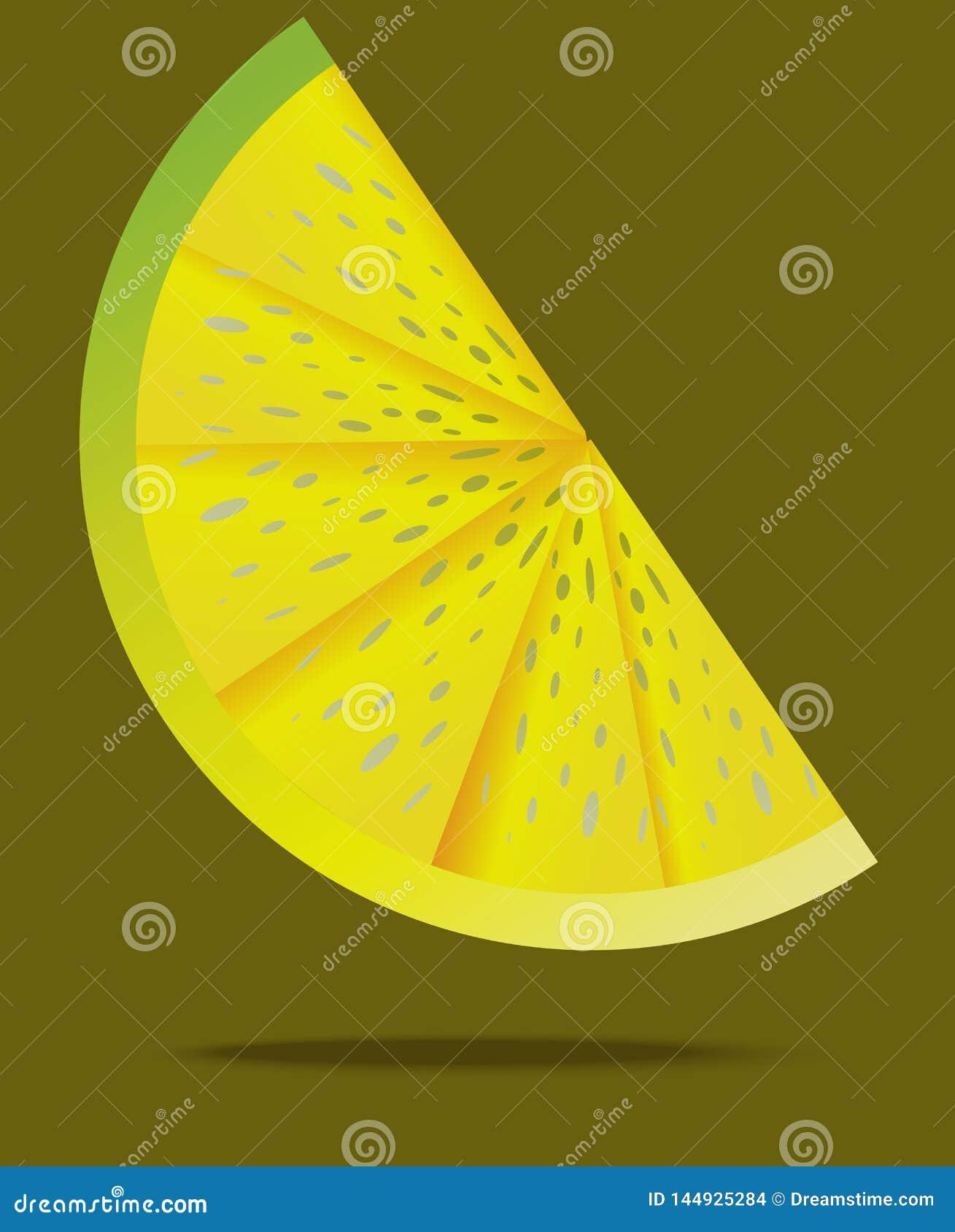 Skiva av citronen i luften