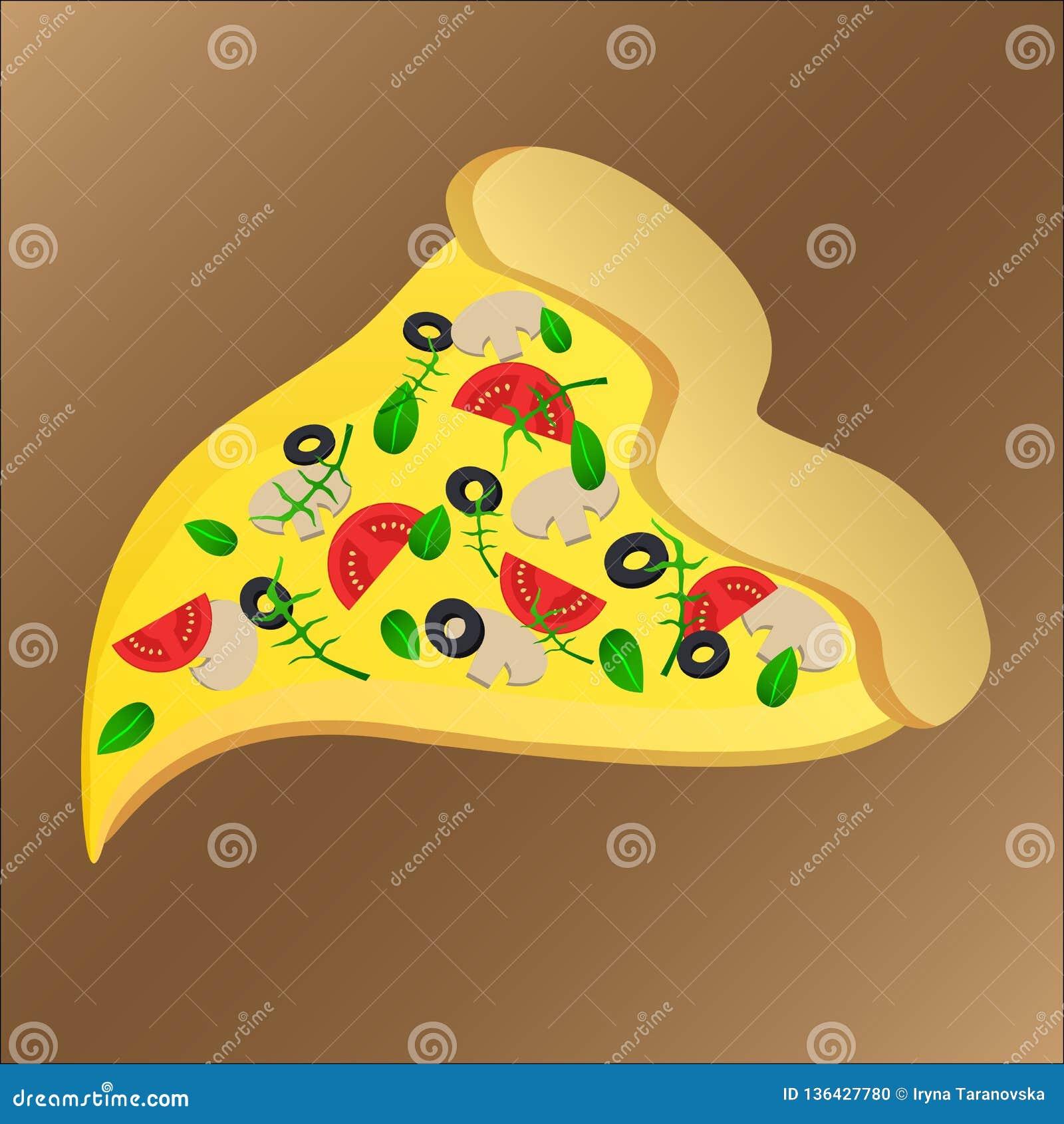 Skiva av smaklig pizza med tomaten och ost