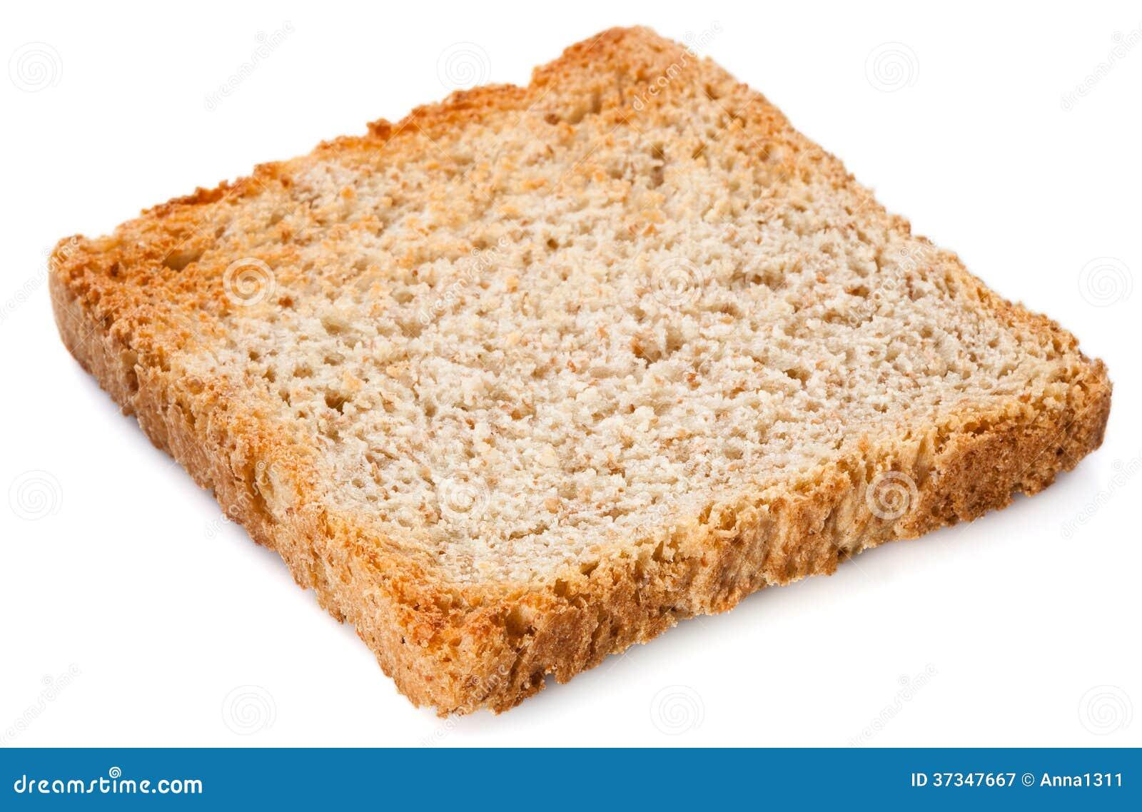 Skiva för vitt bröd. Rostat bröd som isoleras på vit