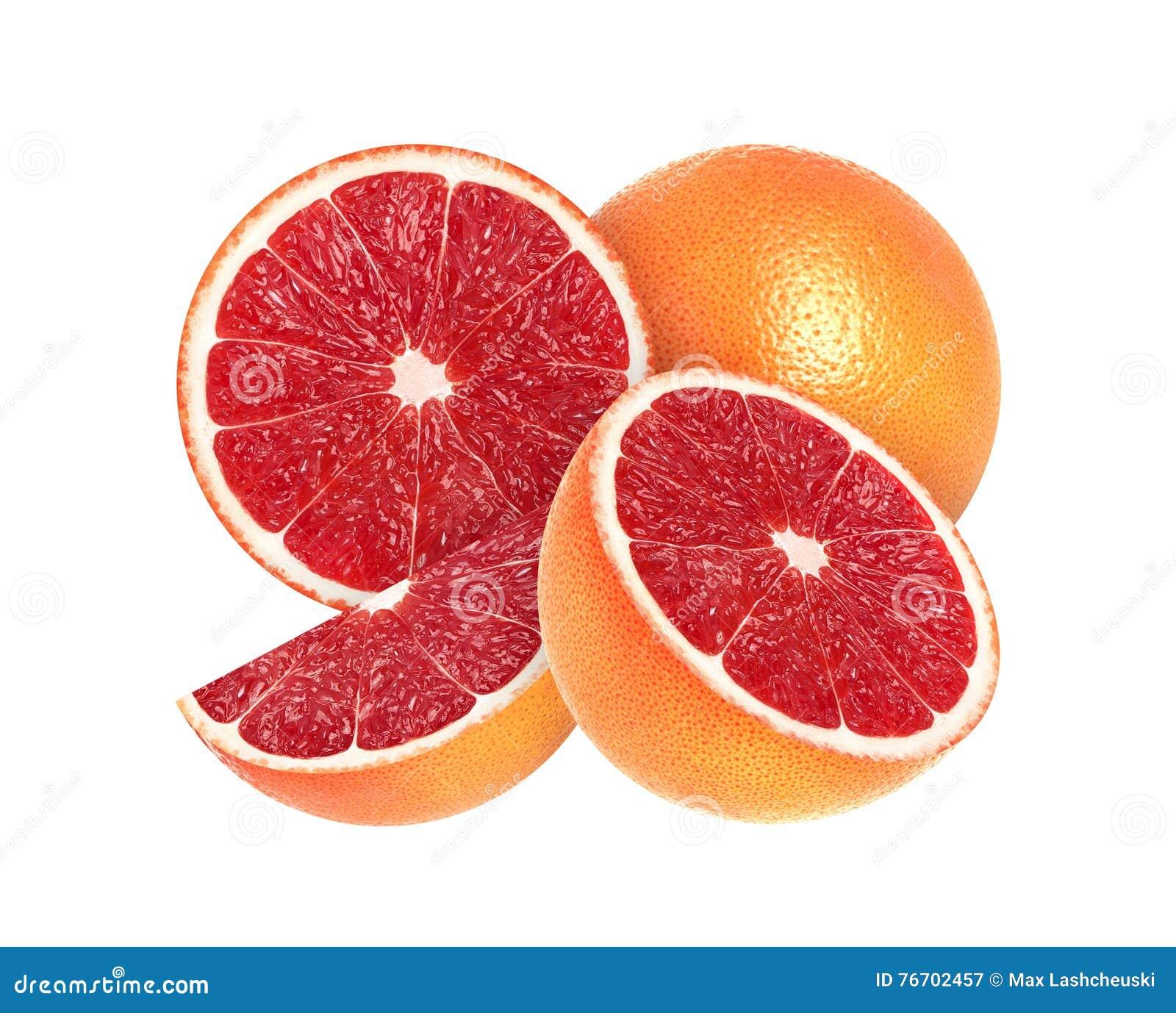 Skivad grapefrukt som isoleras på vit